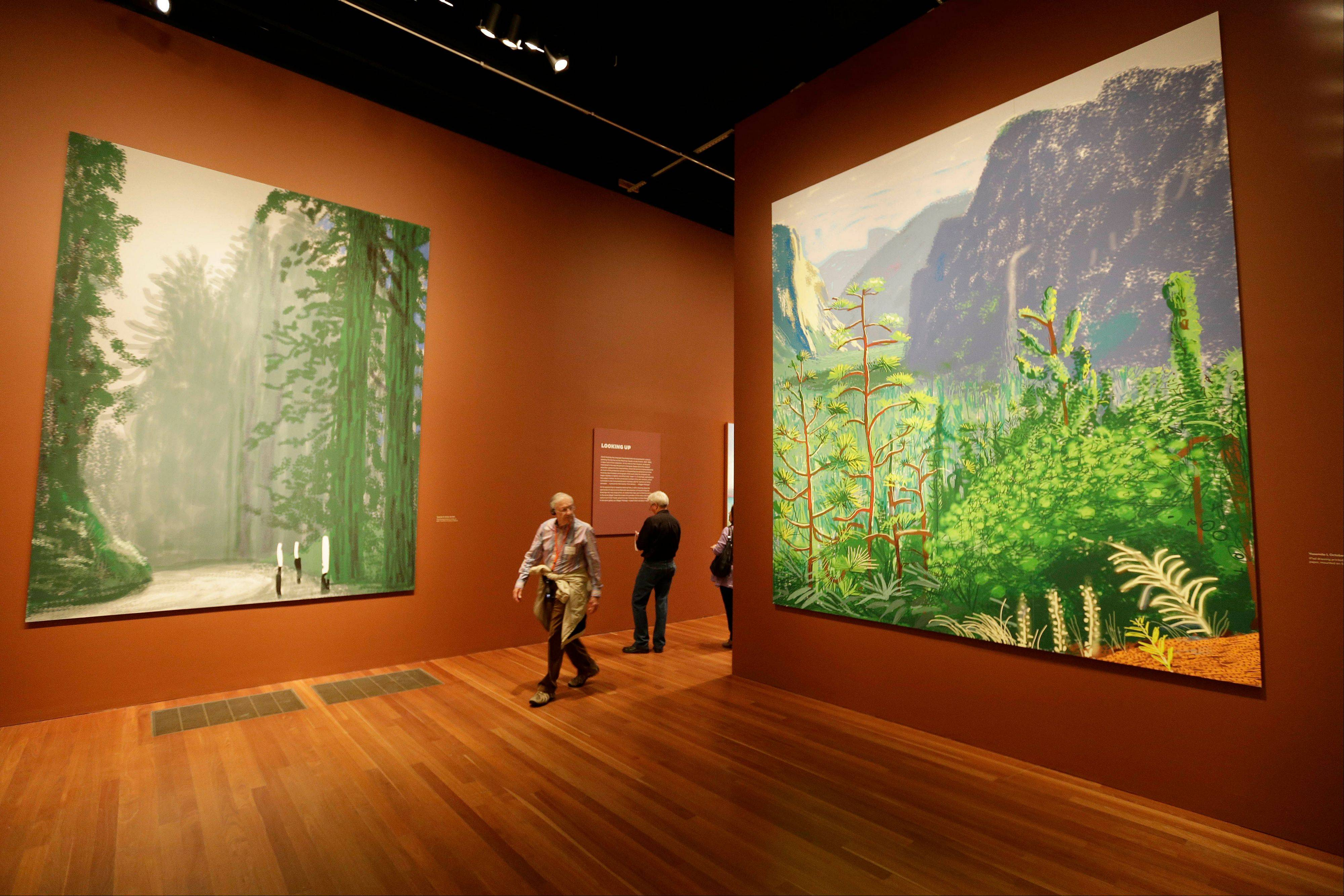 A man walks between a pair of 12-foot high views of Yosemite National Park, made by David Hockney using an iPad, at an exhibit in San Francisco.