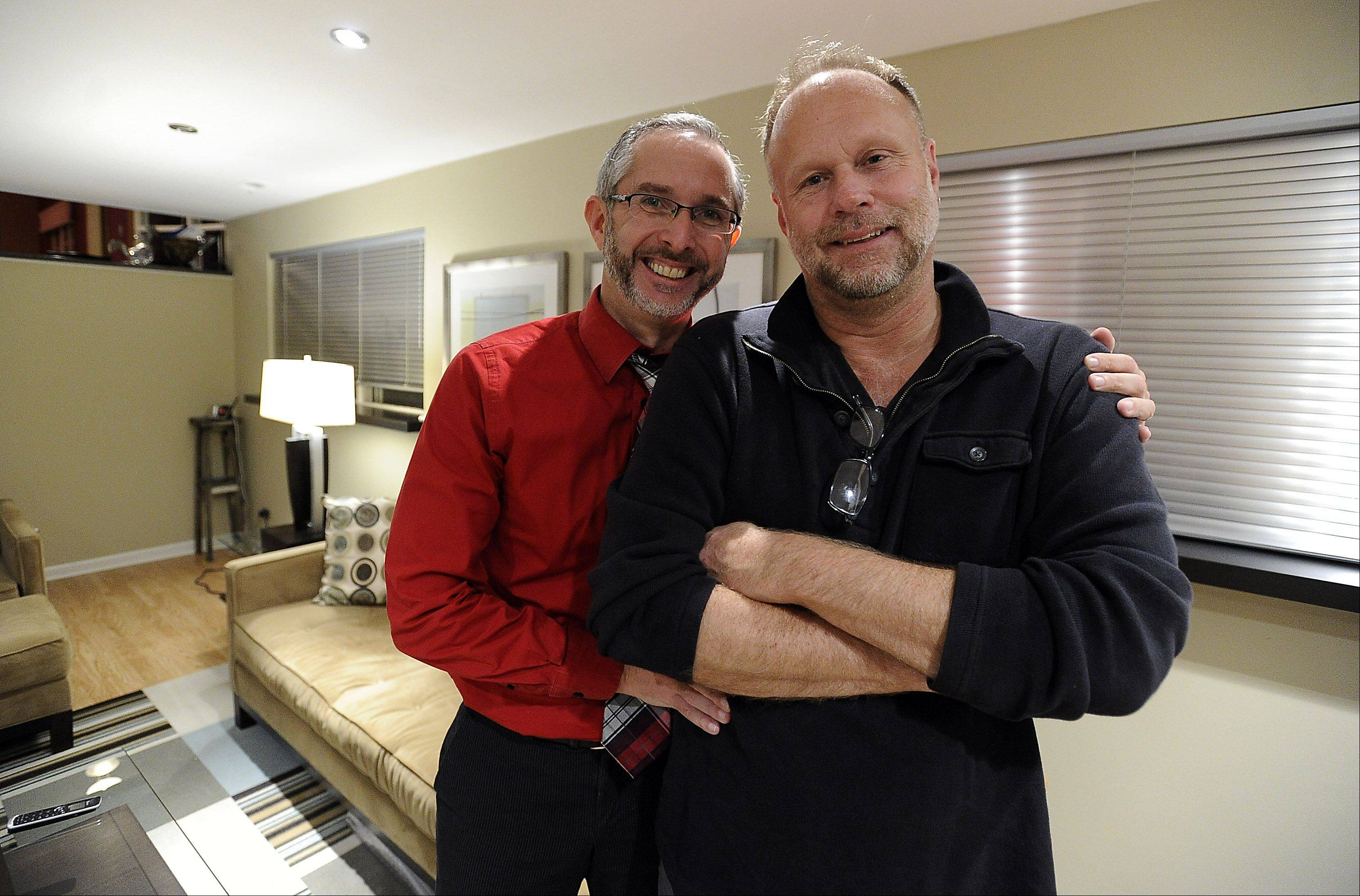 "Joe Serio, left, and his partner Paul Dombrowski, of Palatine, were advocates for legalized same-sex marriage and say they'll be ""first in line June 1,"" the date of Illinois' first same-sex marriages."