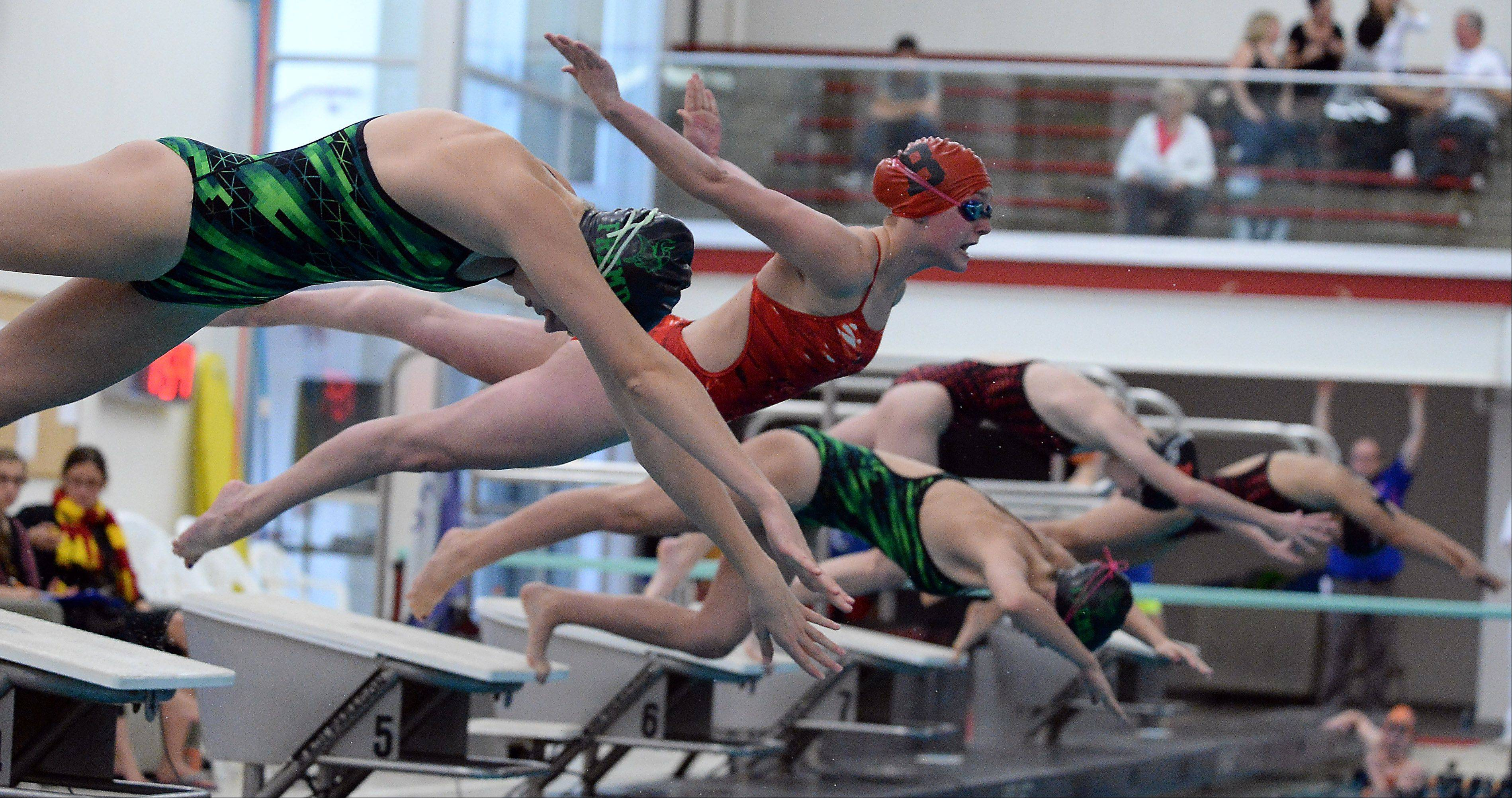 Barrington's Mekenna Scheitlin, second from left, takes flight at the start of the 100-yard freestyle event during Saturday's Mid Suburban League swimming championshipsin Barrington.