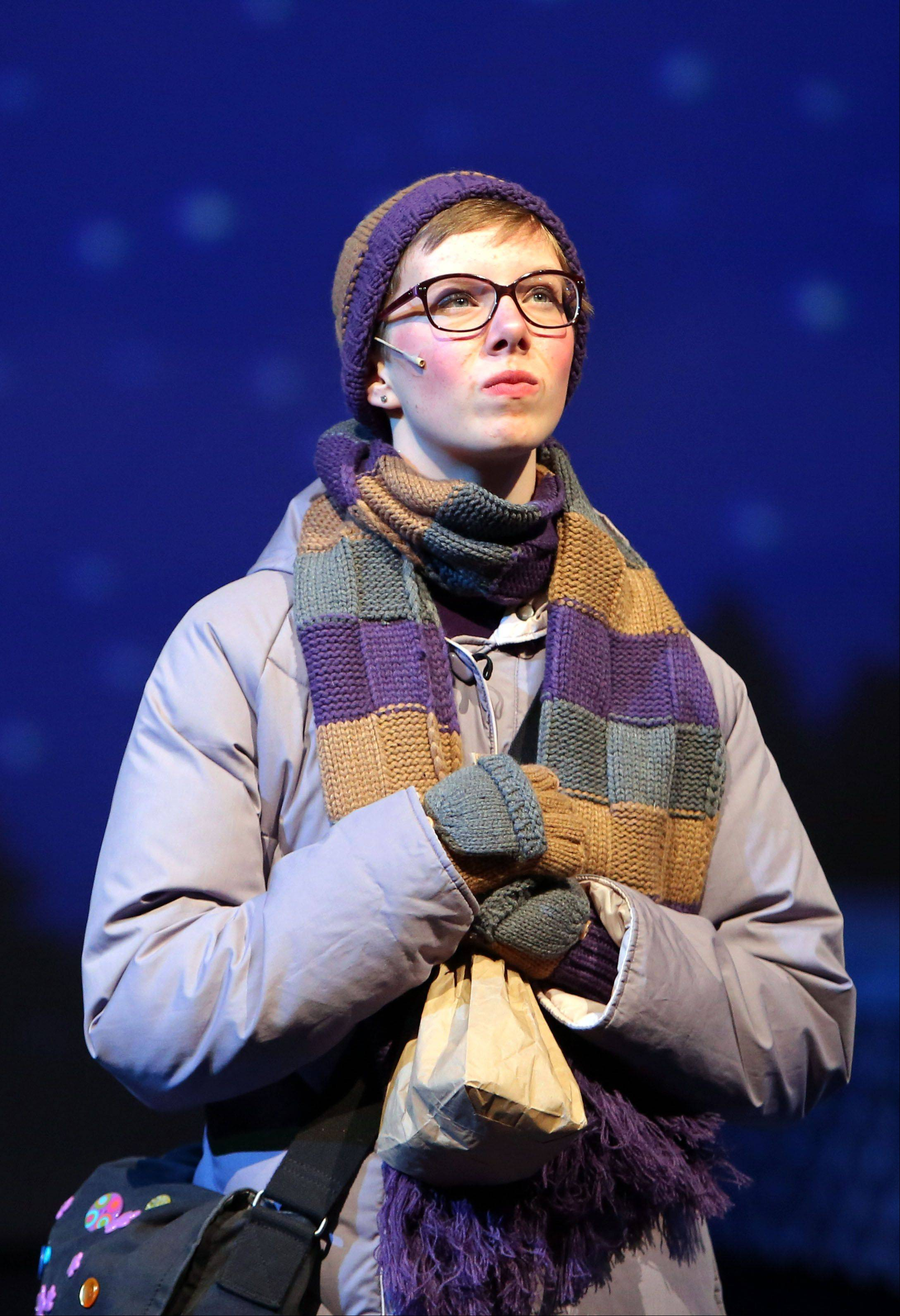 "Freshman Kelly Schwantes plays Glory during a dress rehearsal for the Lake Zurich High School production of ""Almost Maine."""
