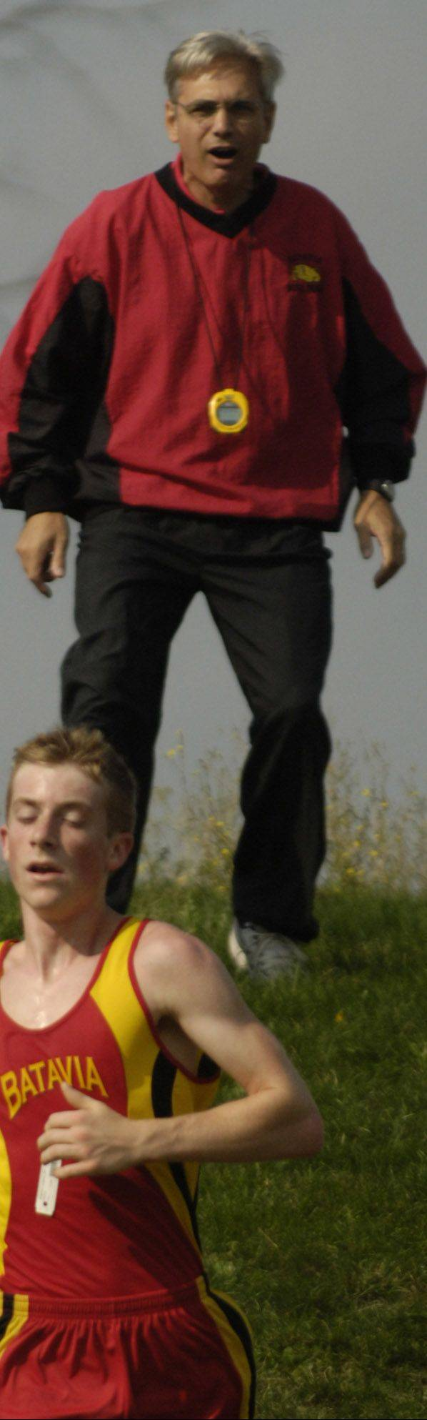 Batavia cross country coach Mike DiDomenico, pictured at a past Royal-Cadet Invitational, saw his team qualify for state for the first time Saturday in his final season after 34 years coaching the Bulldogs.
