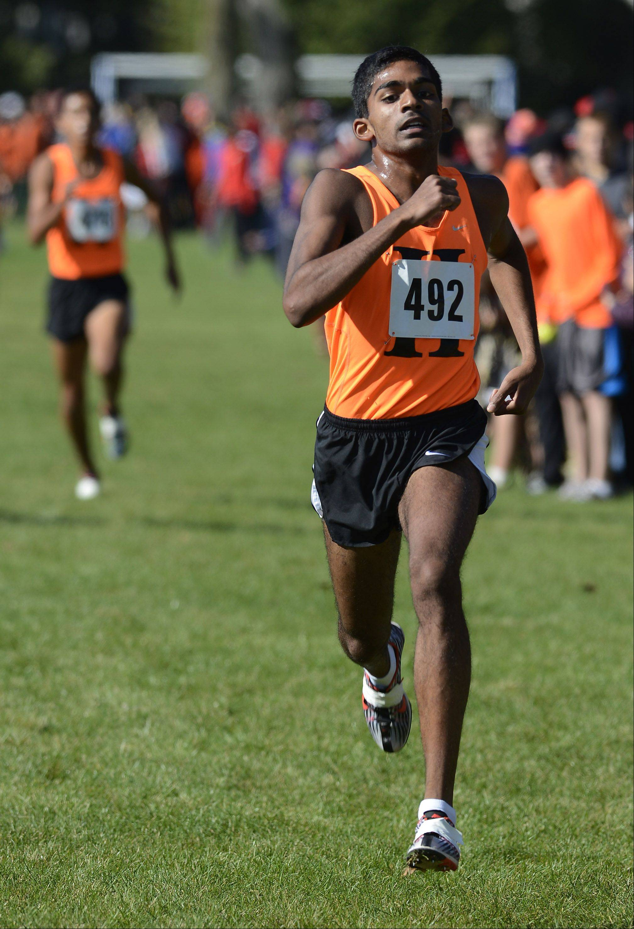 Senior Andy Philipose heads for a sixth-place individual finish for Mid-Suburban League team champ Hersey during the MSL meet last month at Willow Stream Park in Buffalo Grove.