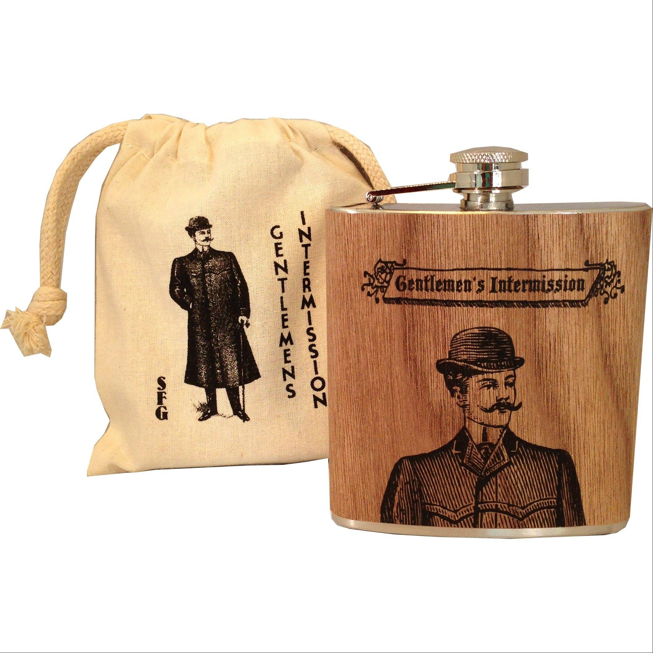 Flasks printed with vintage drawings of dapper gentlemen give old-school charm to a collection of flasks and other barware.