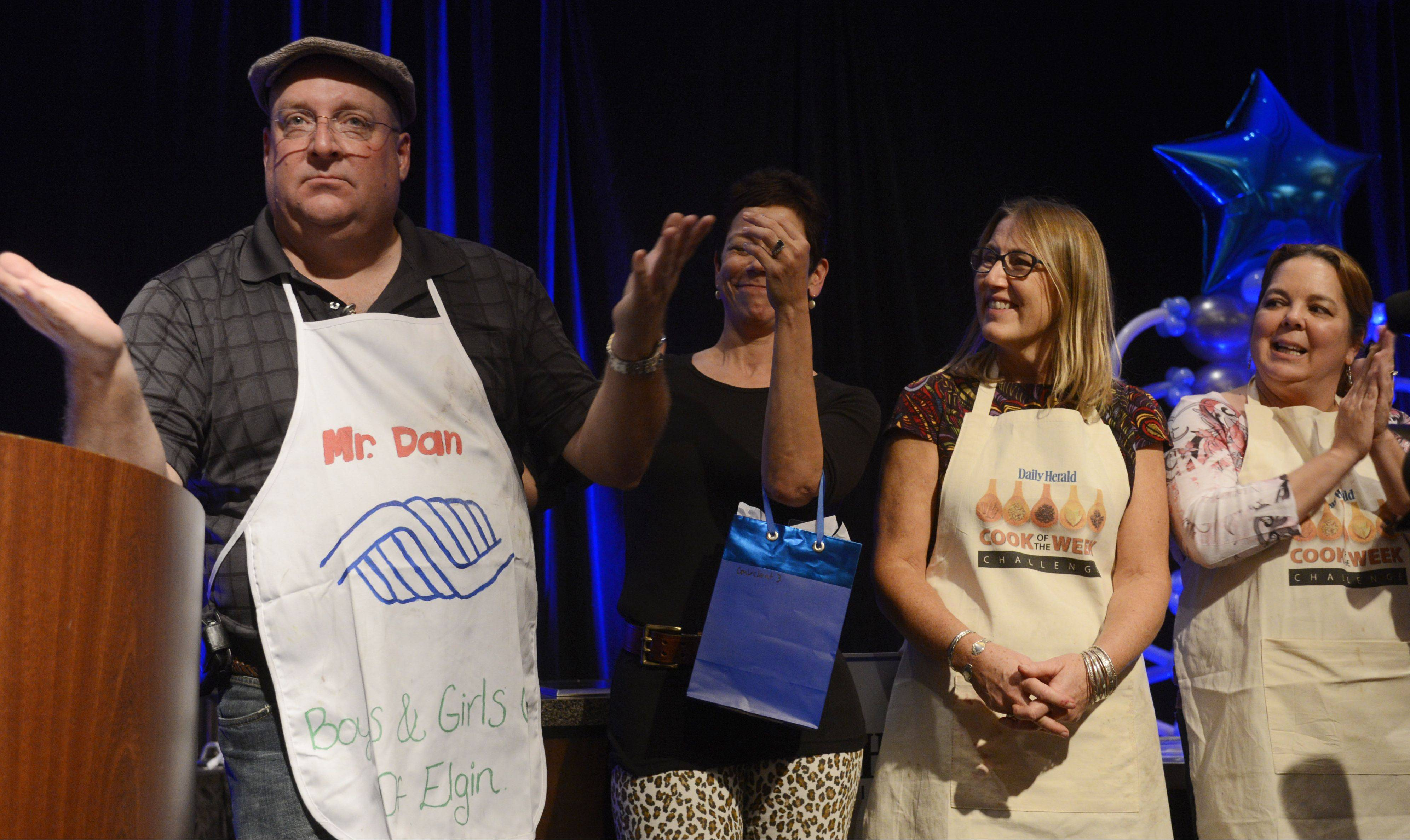 Dan Rich of Elgin emerged as Cook of the Year after the one-hour mystery ingredient cook-off Oct. 30 at the Hyatt Regency Schaumburg. He competed against Lori Motyka, from left, Christine Murphy and Lori Wiktorek.