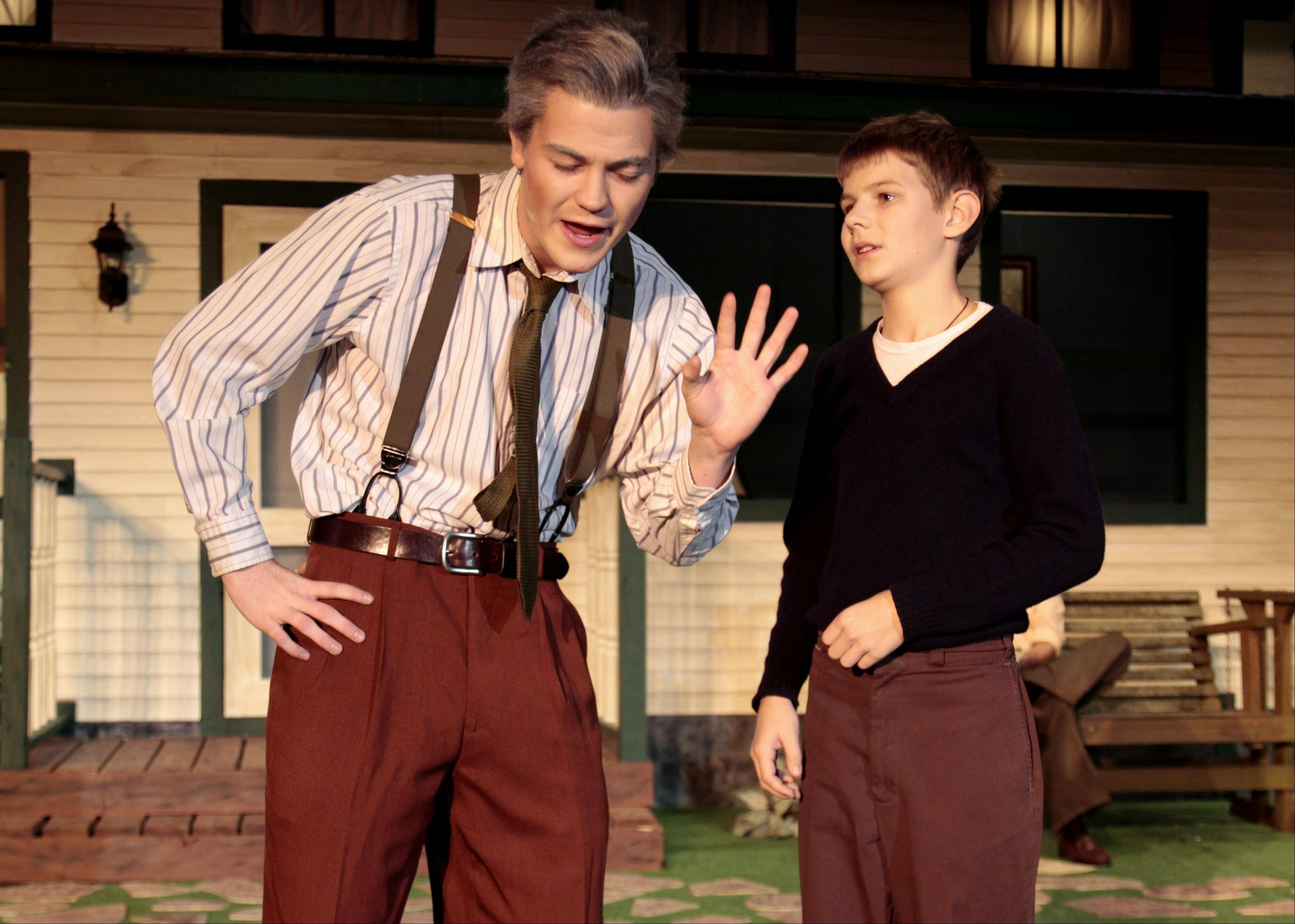 "Joe Brommel and Tom Cassidy play Joe Keller and Bert in the Cary-Grove High School production of ""All My Sons."""