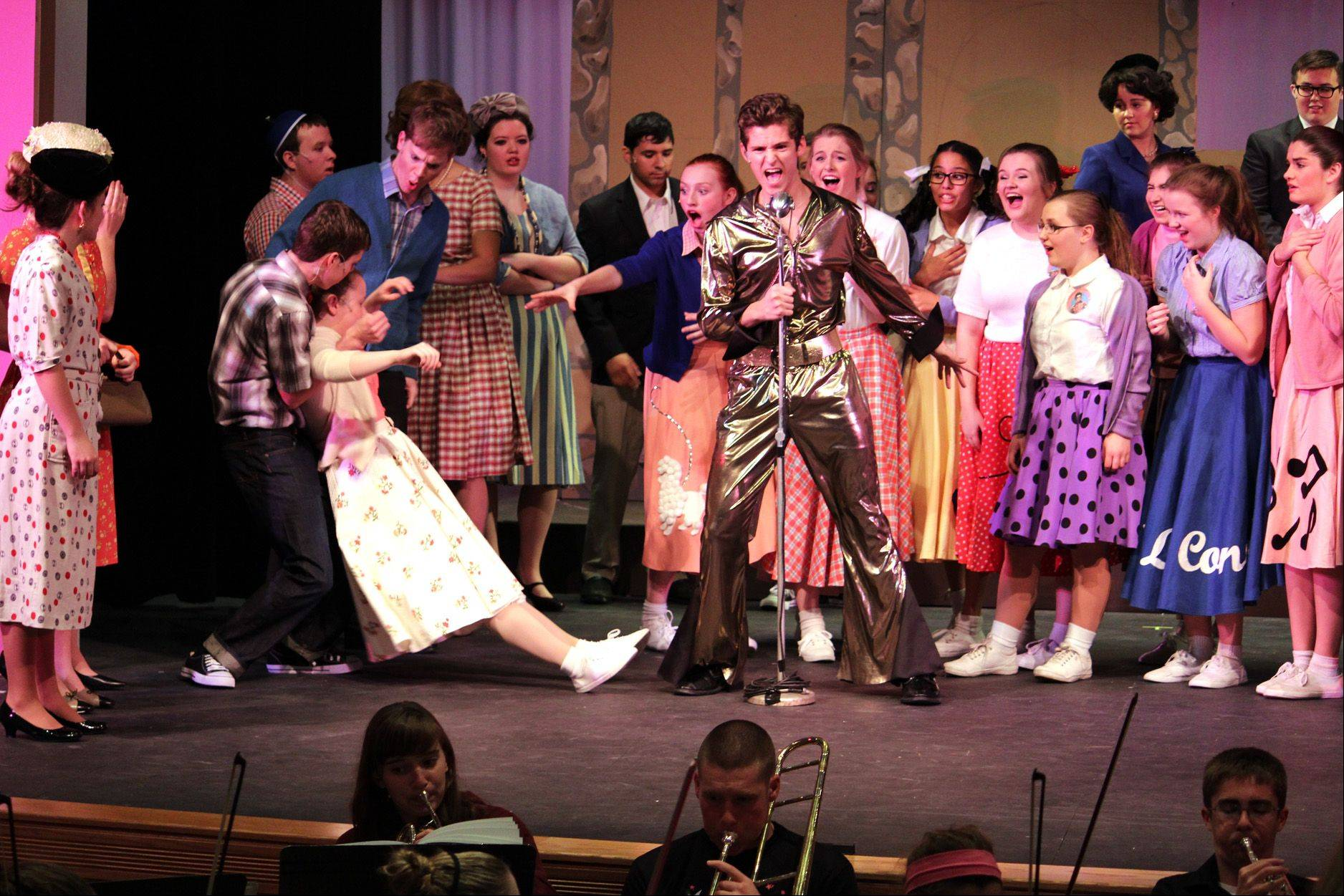 "Rosary High School and Marmion Academy students rehearse for the schools' combined fall play, ""Bye Bye Birdie."""