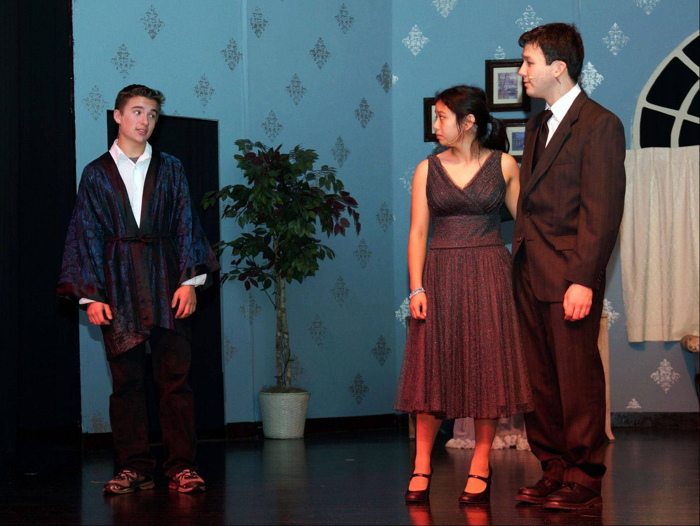 "Marian Central Catholic students rehearse a scene from ""Rehearsal for Murder."""