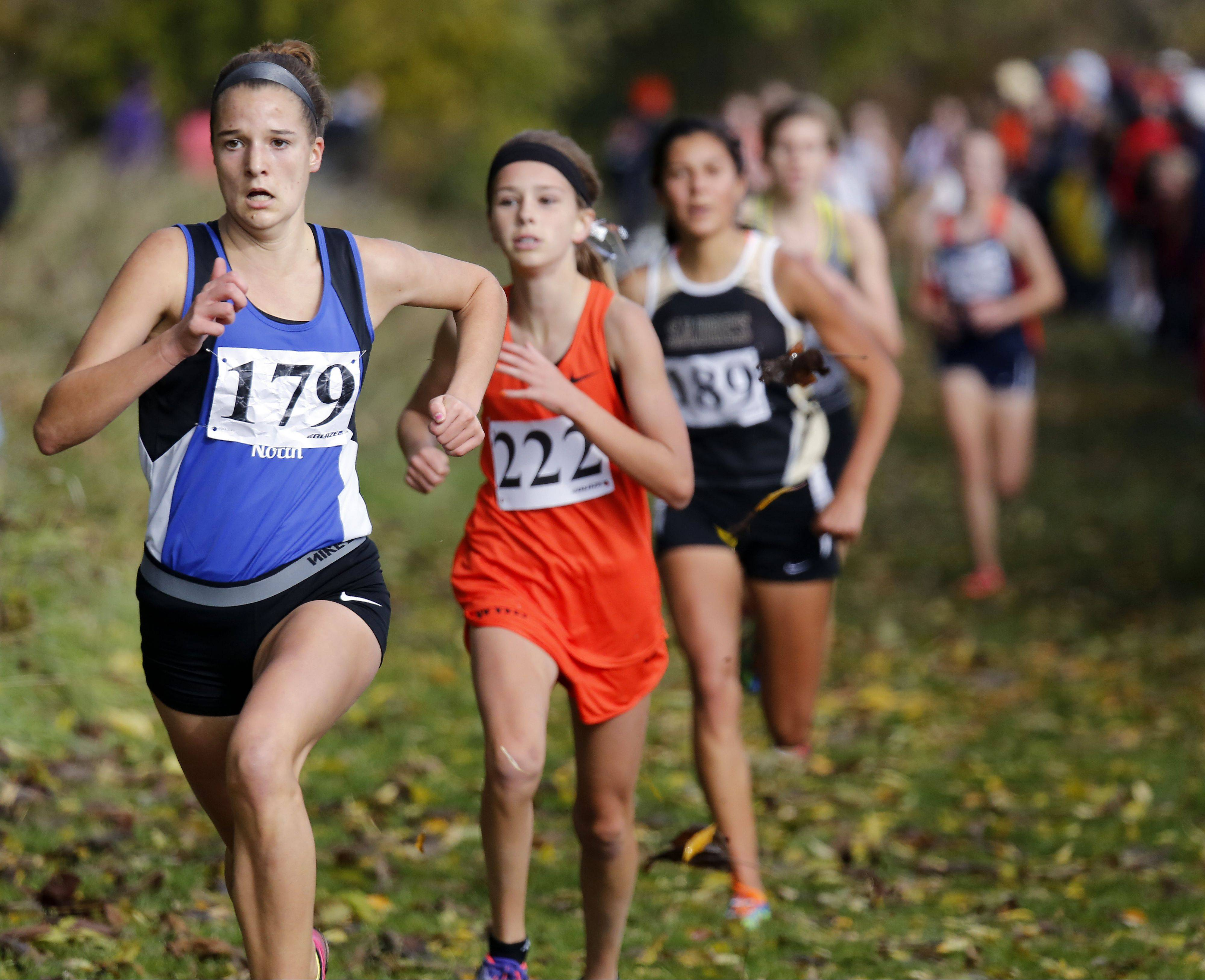 Ashley England of St. Charles North heads to fourth place during the Waubonsie Valley girls cross country Sectional in Aurora.