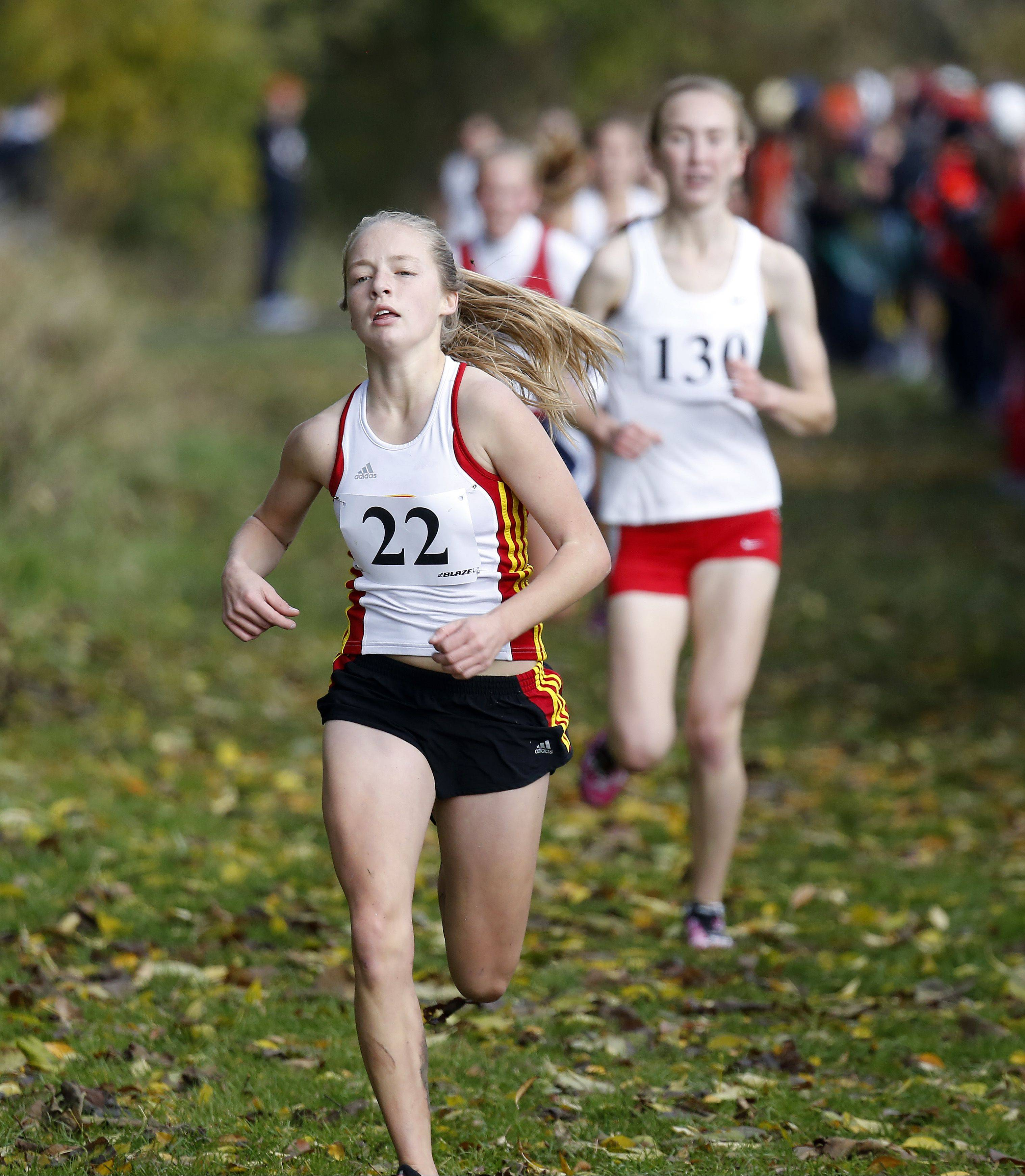Batavia's Dakota Roman on her way to 13th during the Waubonsie Valley girls cross country Sectional in Aurora.