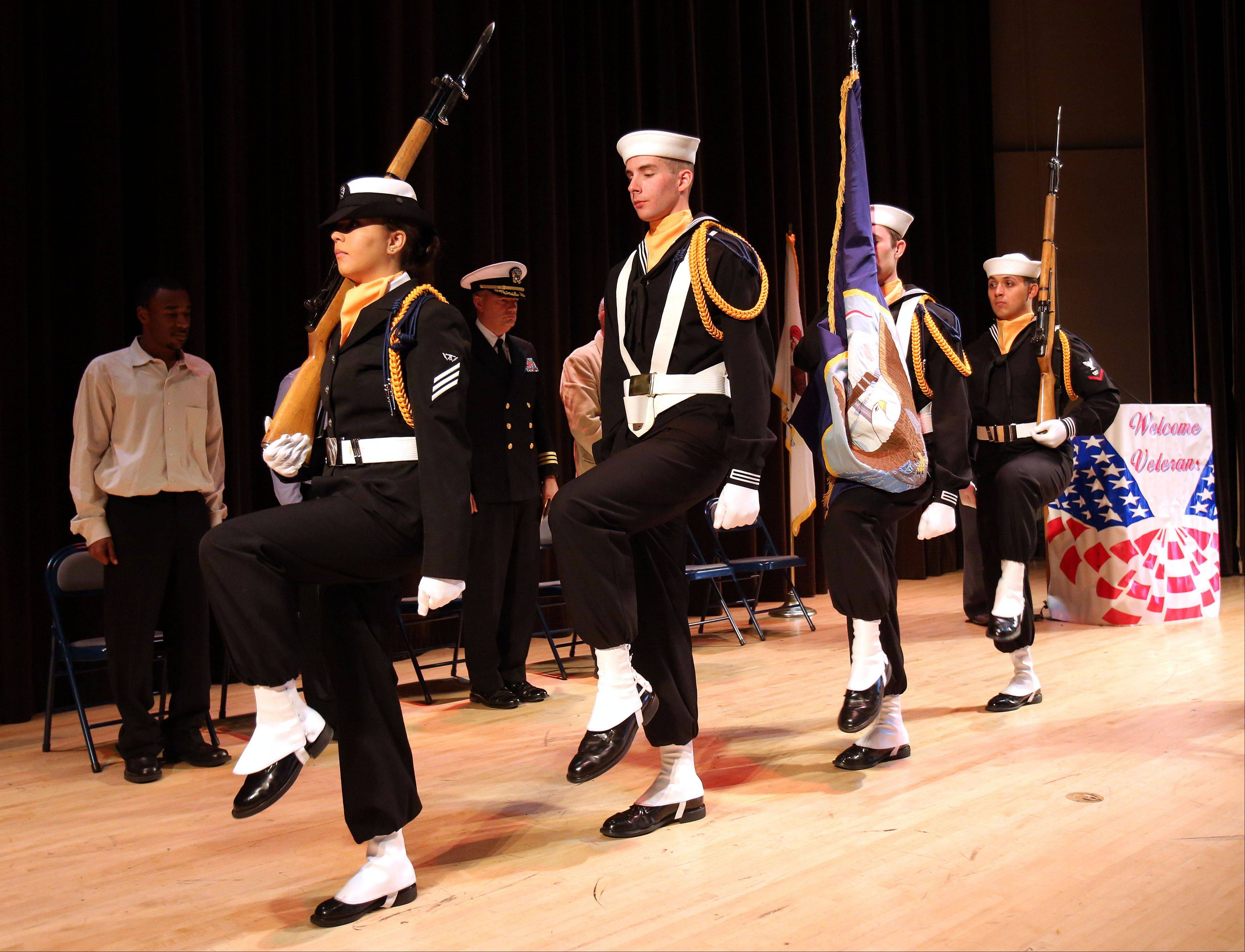 The Great Lakes Color Guard retires the colors during the College of Lake County�s annual Veterans Day ceremony Thursday in Grayslake.