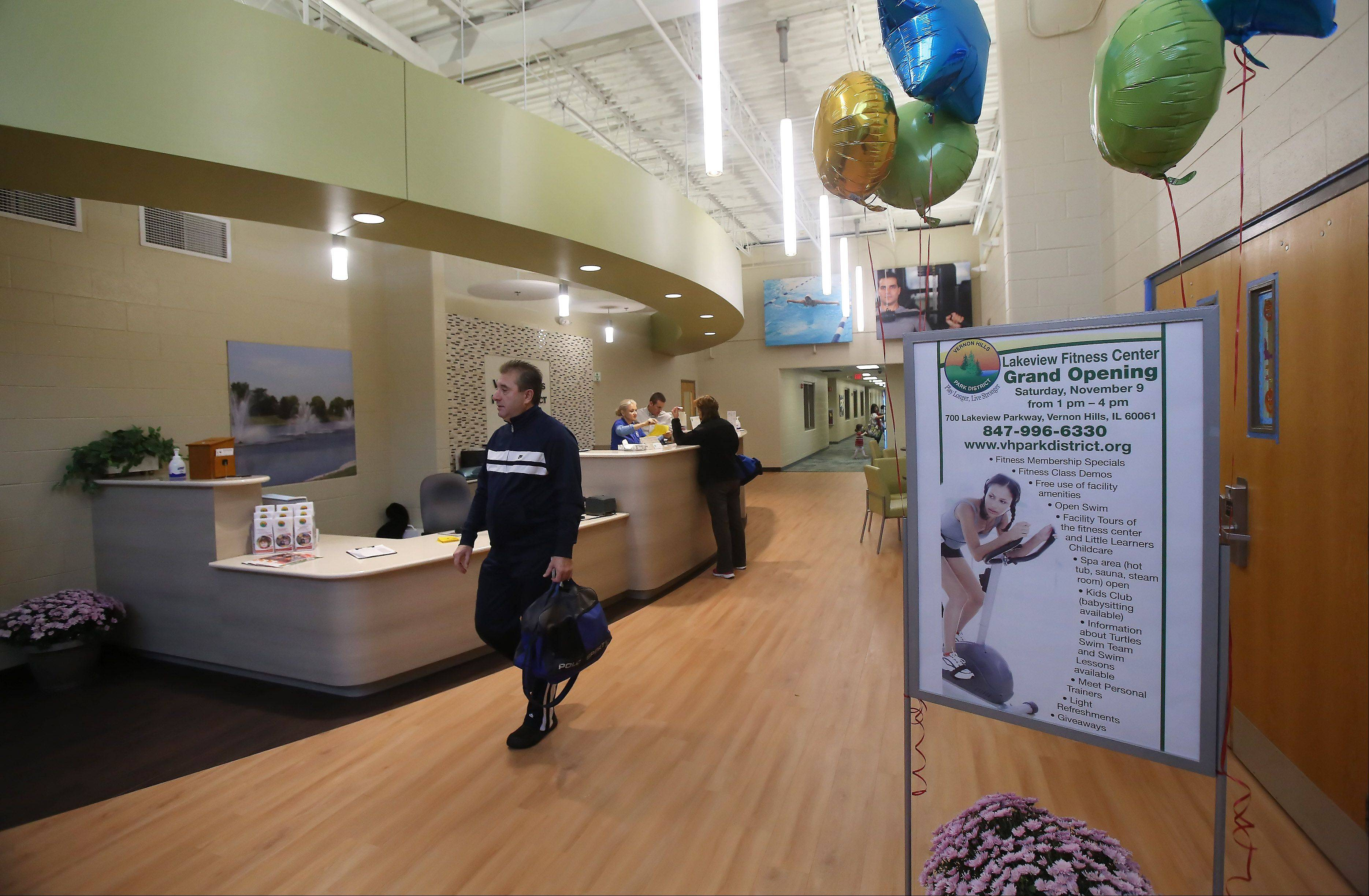 The reception area of the Lakeview Fitness Center in Vernon Hills has been reconfigured for better security. A grand reopening of the former Central Lake YMCA is scheduled for Saturday.