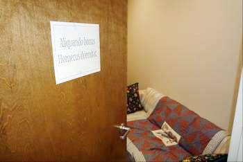 "The Latin sign on the door translates as ""Here lies a good man,"" but it marked the temporary resting place of Lou Bolchazy, an eccentric publisher who retreated to this room every afternoon for a quick nap."