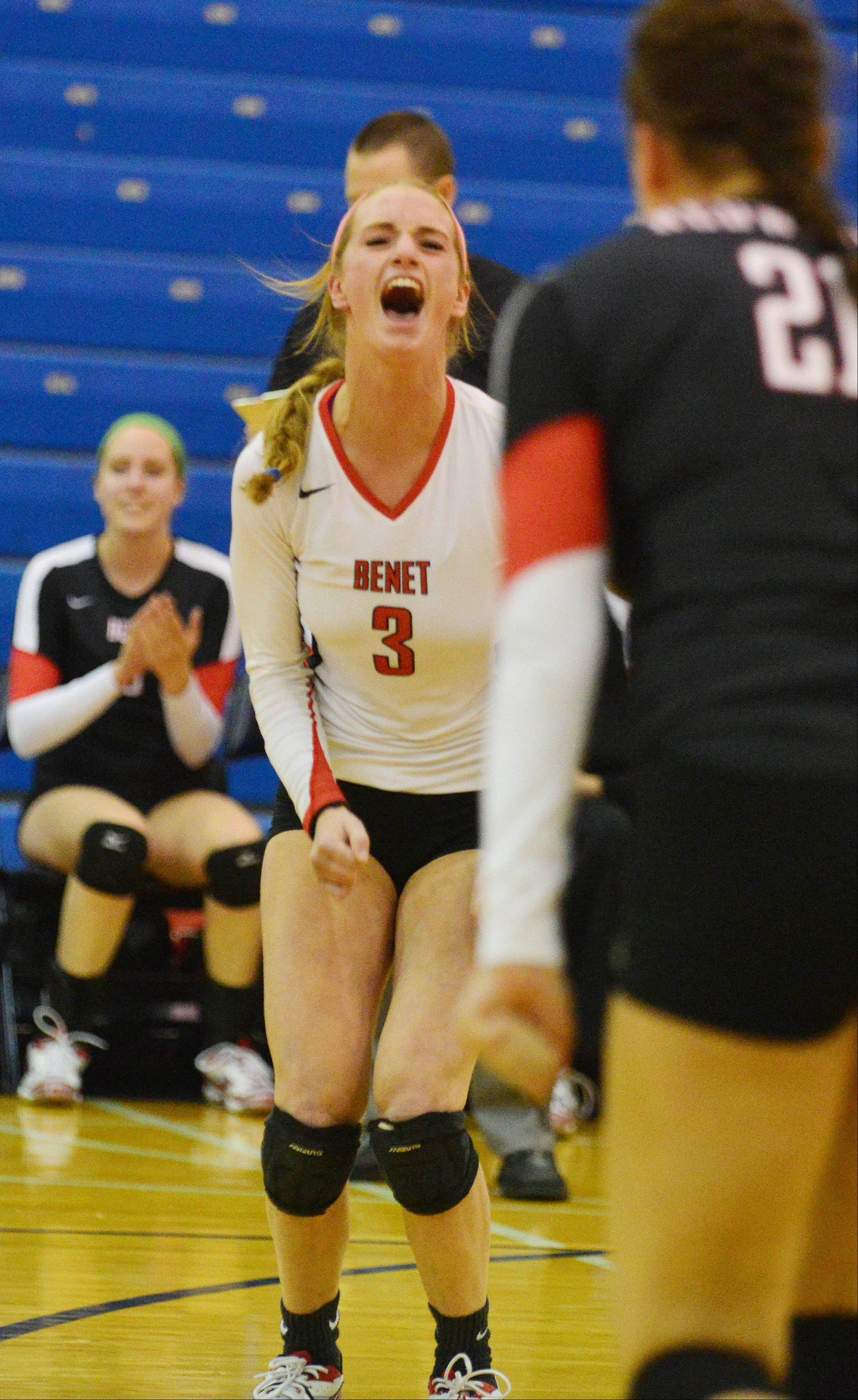 Caroline Wolf of Benet reacts to the big win during the Benet vs. Naperville North at Class Plainfield South girls volleyball sectional final Thursday.