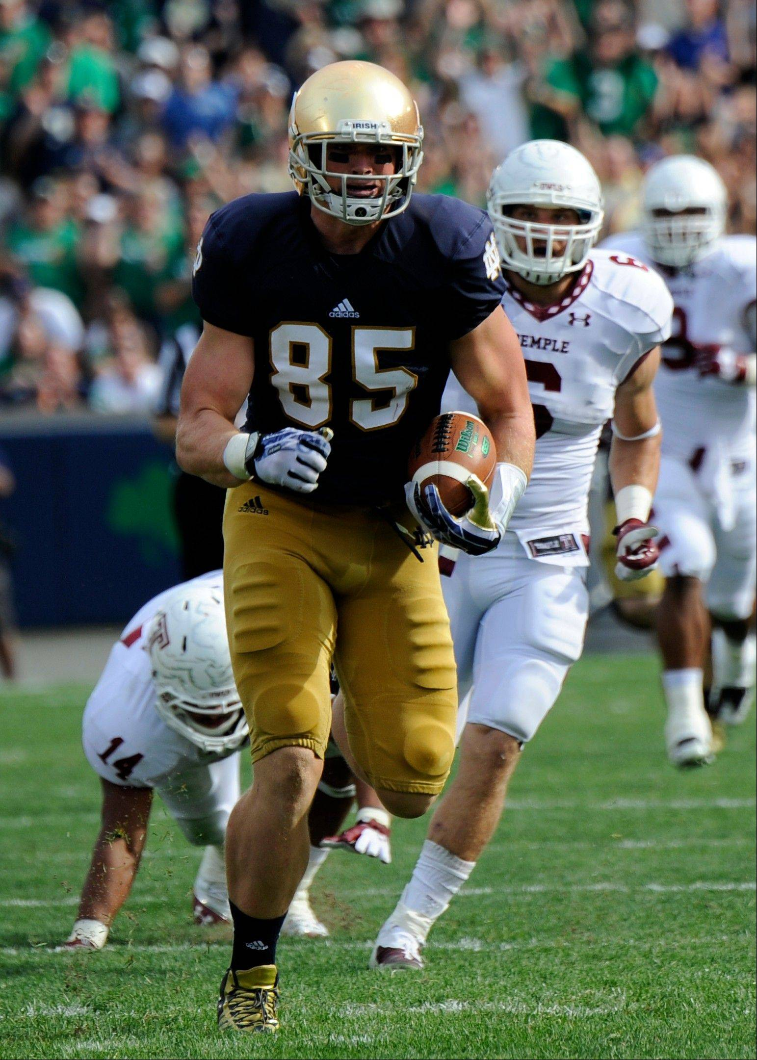 Notre Dame�s Troy Niklas started his college career at linebacker but switched to tight end last season.