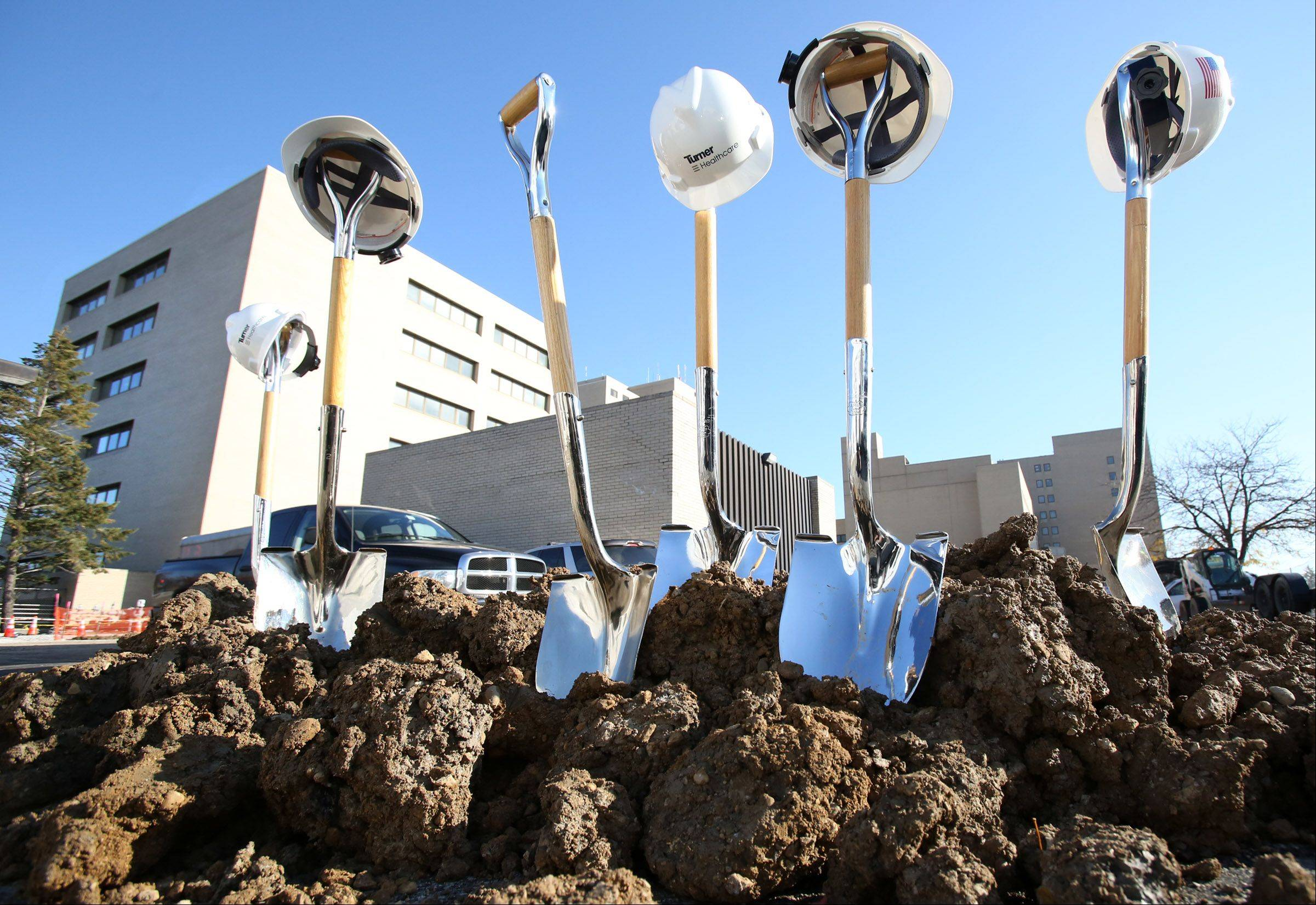 Shovels in the ground mark the spot, after a groundbreaking ceremony for the new $40 million addition to Advocate Lutheran General Hospital.