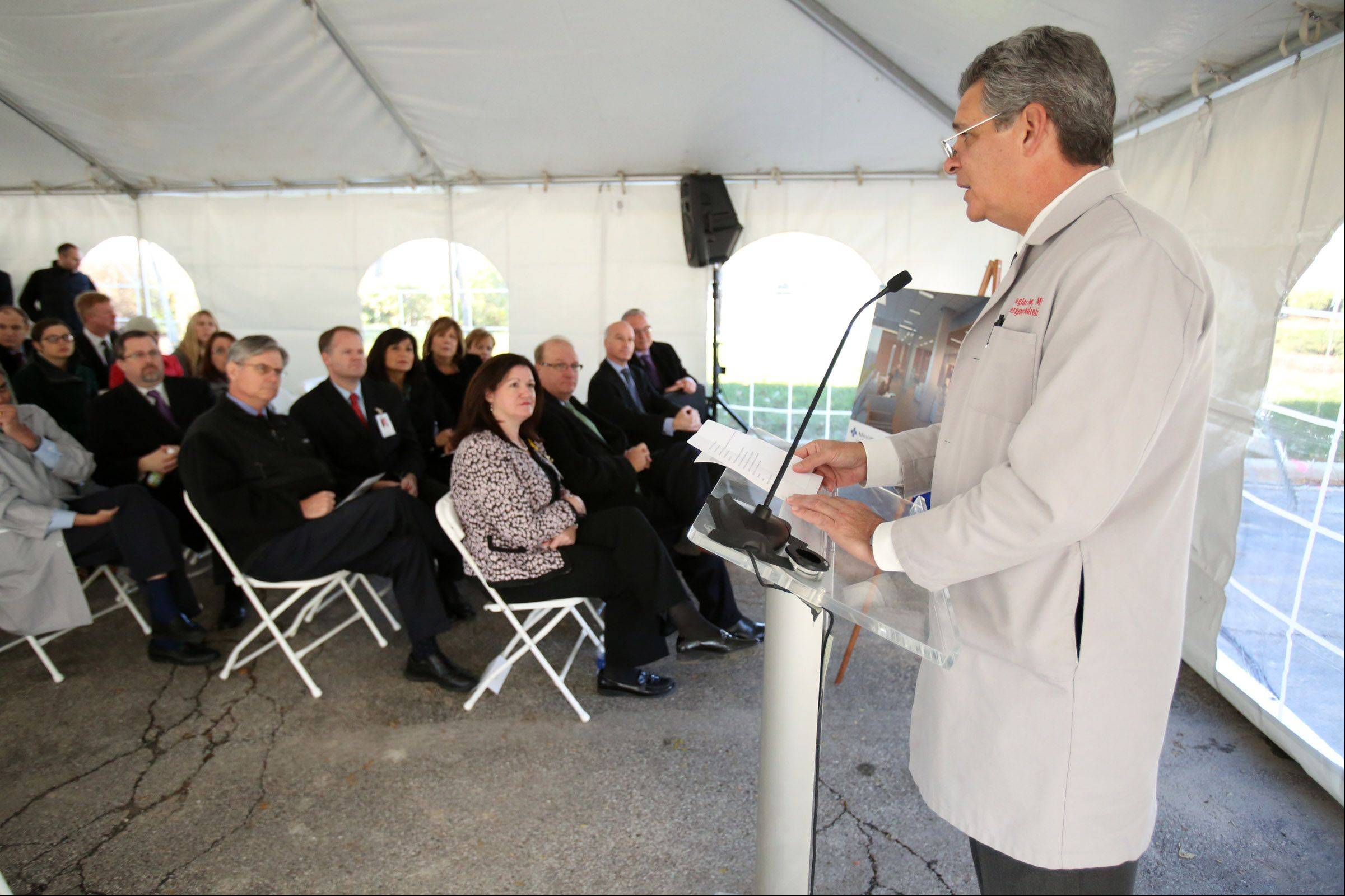 Douglas Propp, chairman of emergency medicine, speaks during the groundbreaking ceremony.