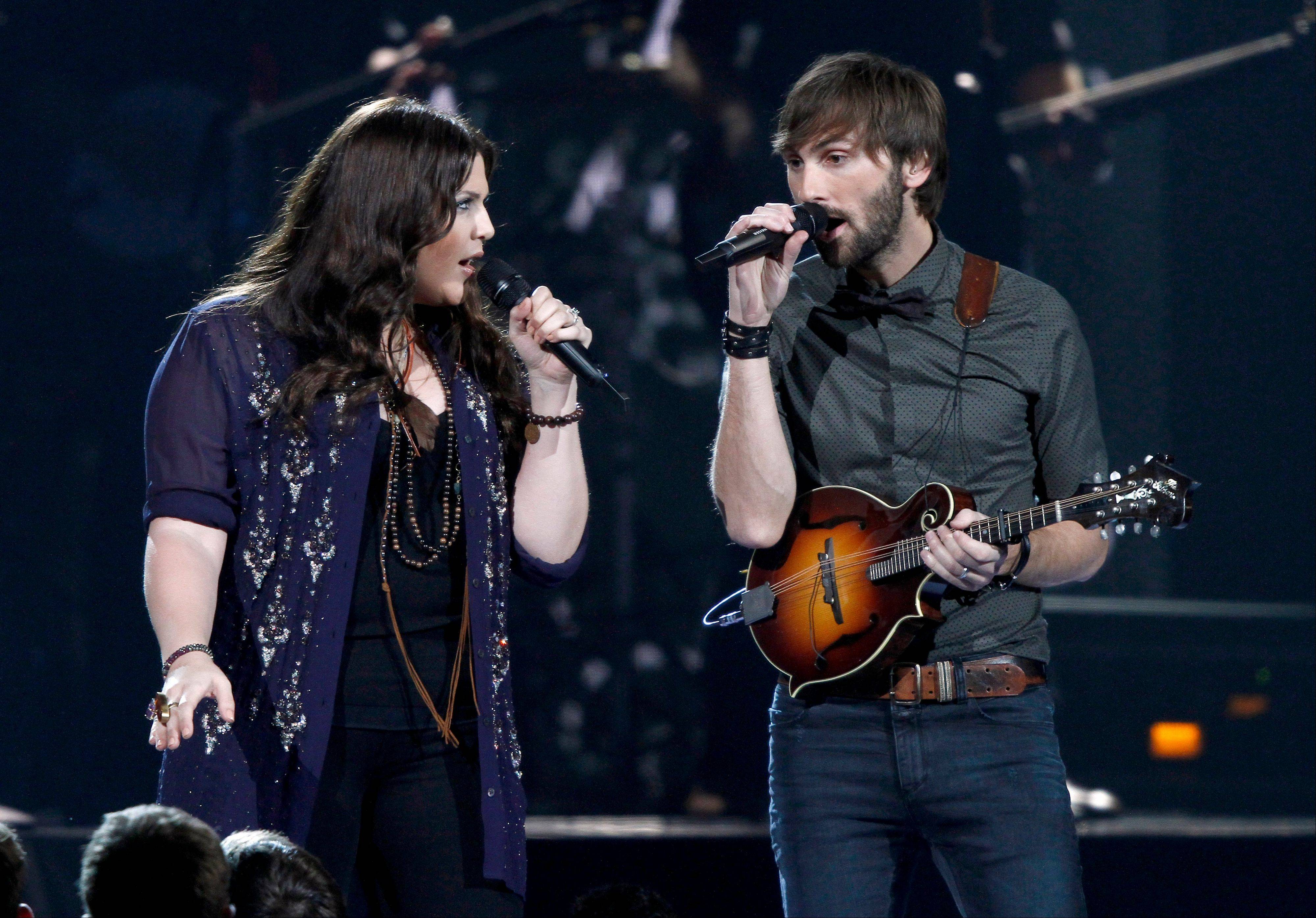 Lady Antbellum, Hillary Scott, left, and Dave Haywood, perform