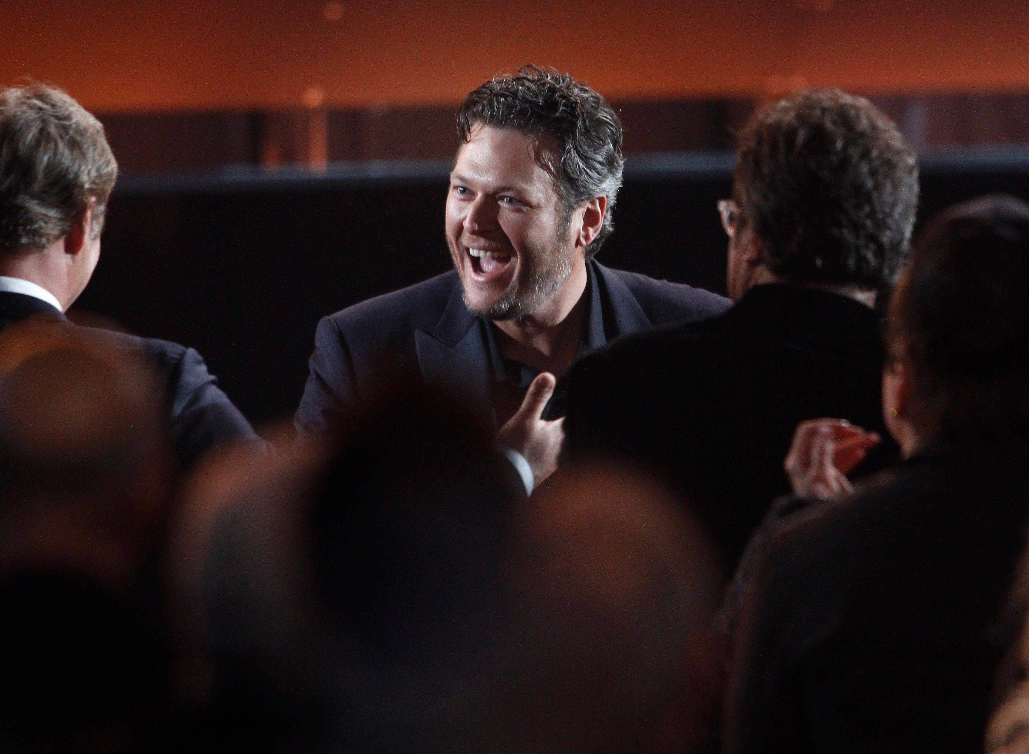 Blake Shelton reacts as he wins the award for album of the year for �Based on a True Story ...�