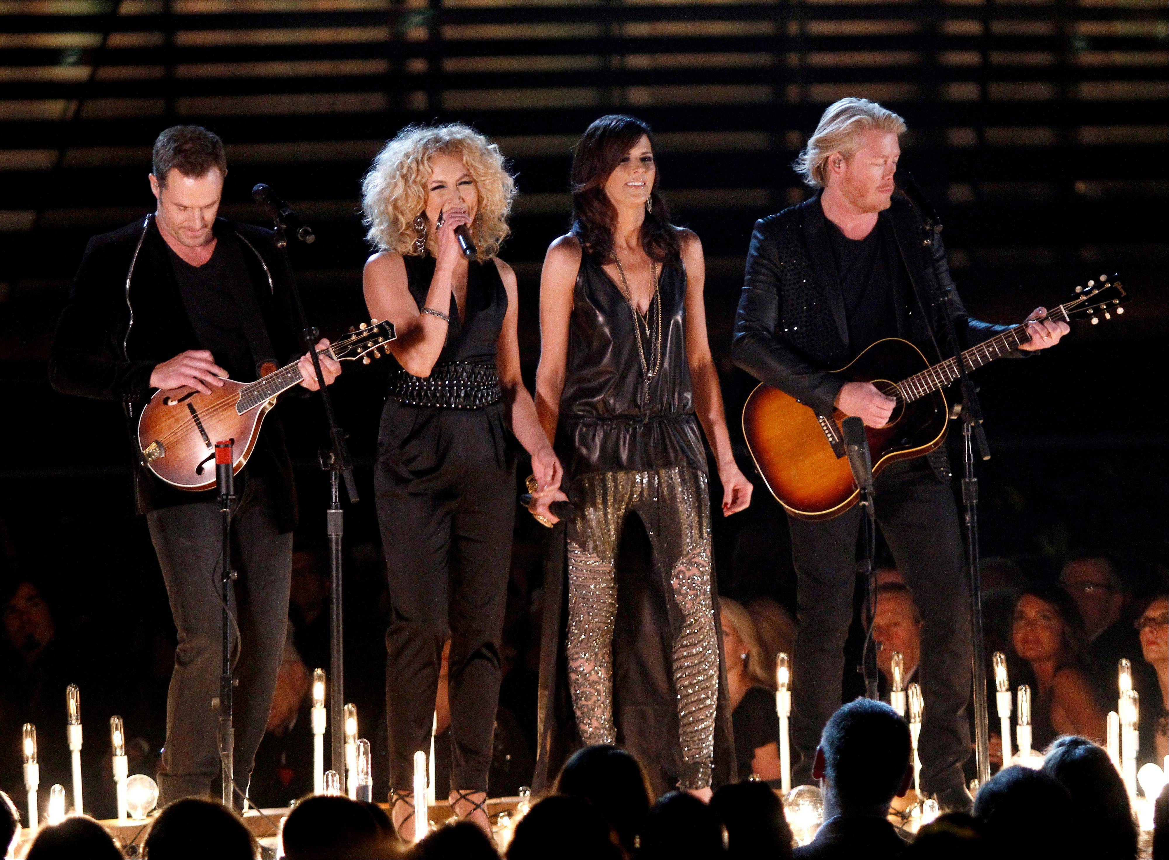 Little Big Town , from left, Jimi Westbrook , Kimberly Schlapman, Karen Fairchild, and Phillip Sweet perform
