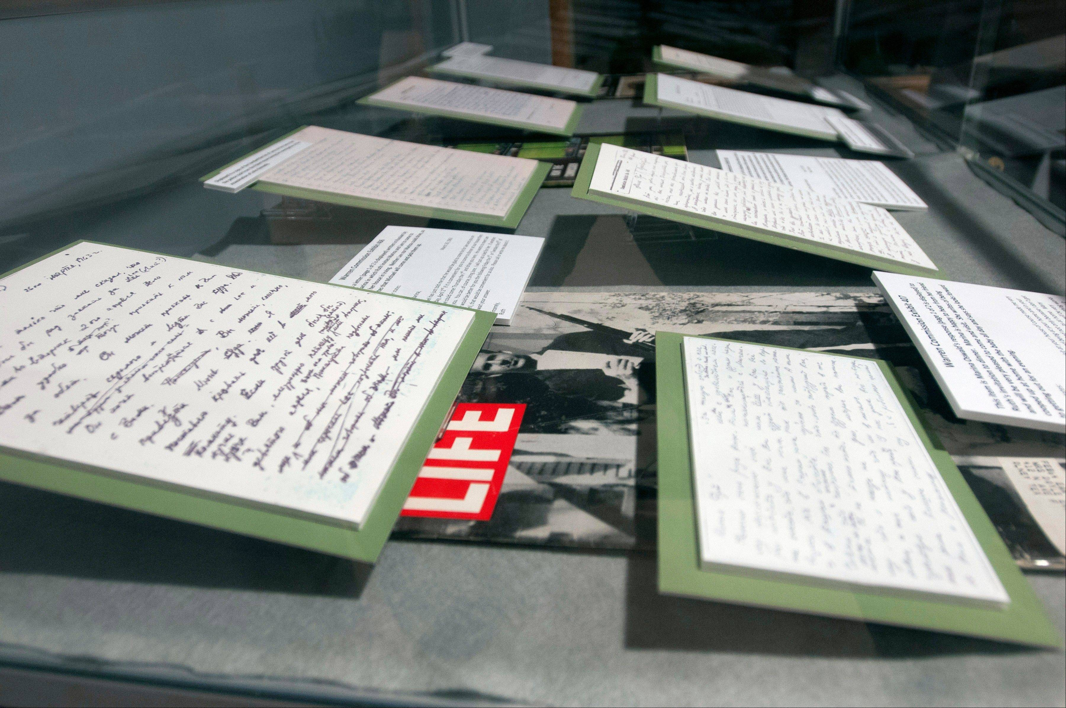 Correspondence between Marina Oswald and Ruth Paine as well as affidavits given to police at the time of President Kennedy's assassination are on display at the Ruth Paine House Museum Visitors' Center in Irving, Texas.