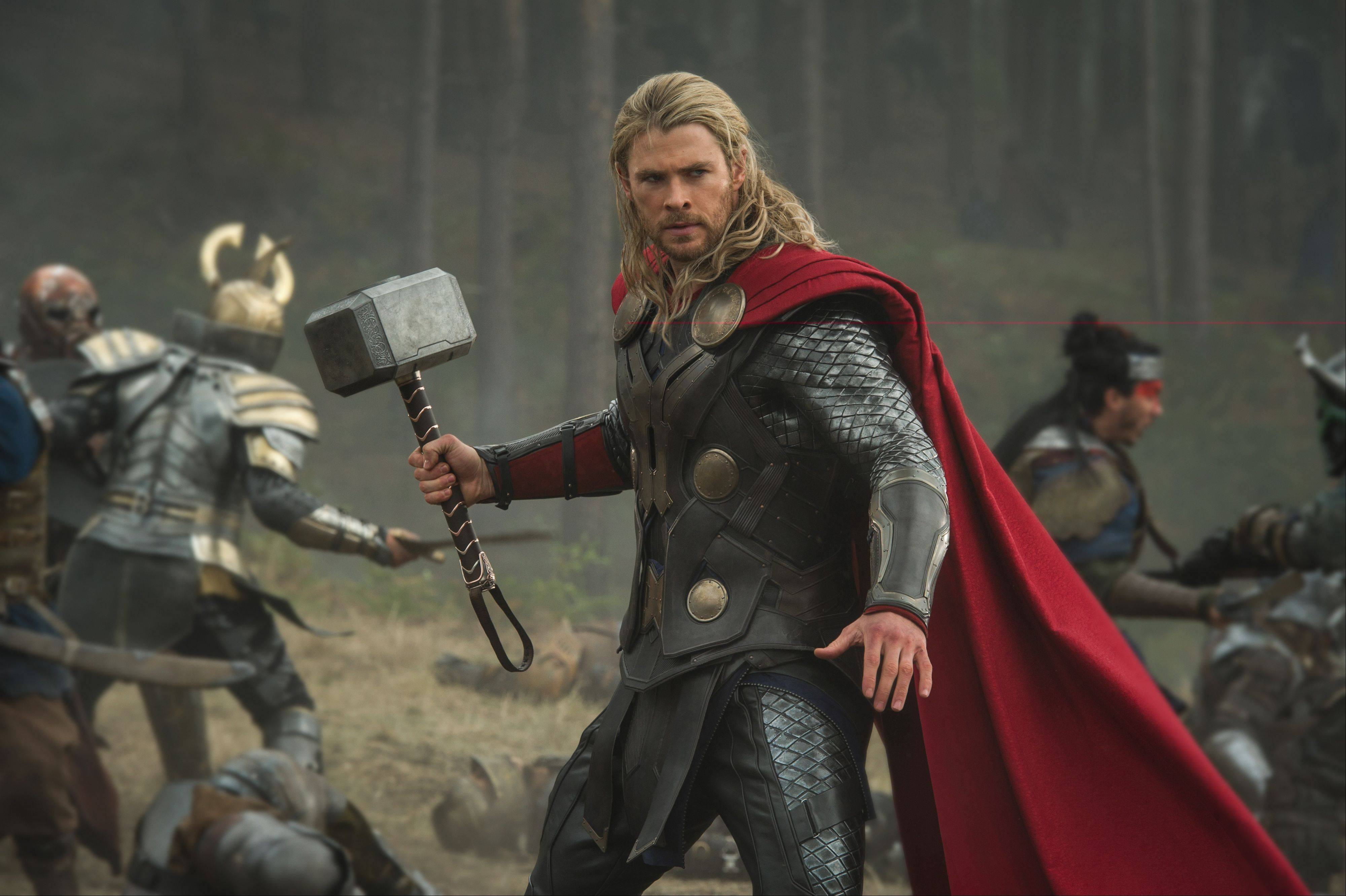 "The God of Thunder (Chris Hemsworth) hammers the competition in ""Thor: The Dark World,"" the sequel to 2011's ""Thor."""