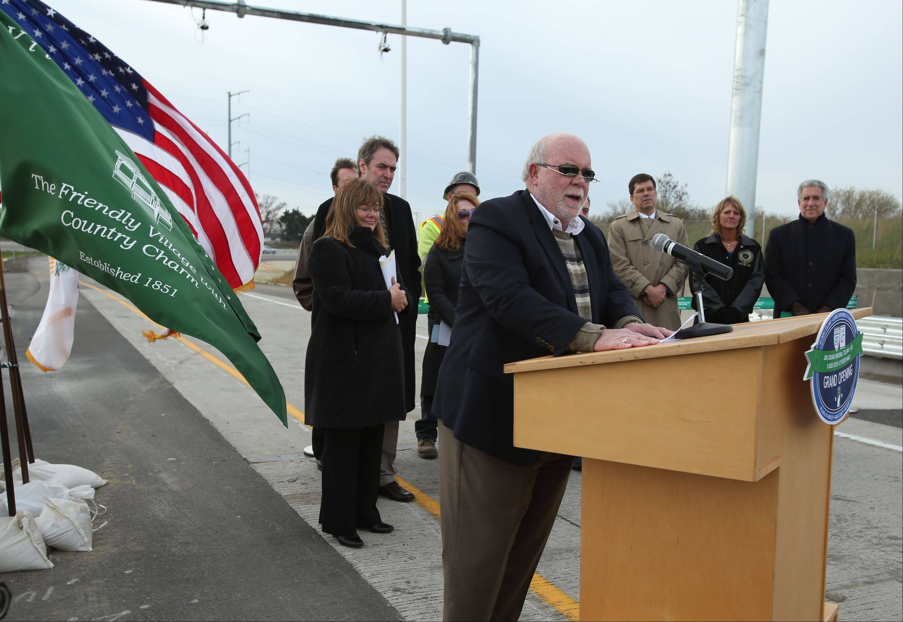 Huntley Mayor Charles Sass addresses the crowd Friday during the official ribbon cutting for the new interchange Route 47 at the Jane Addams Tollway in Huntley.