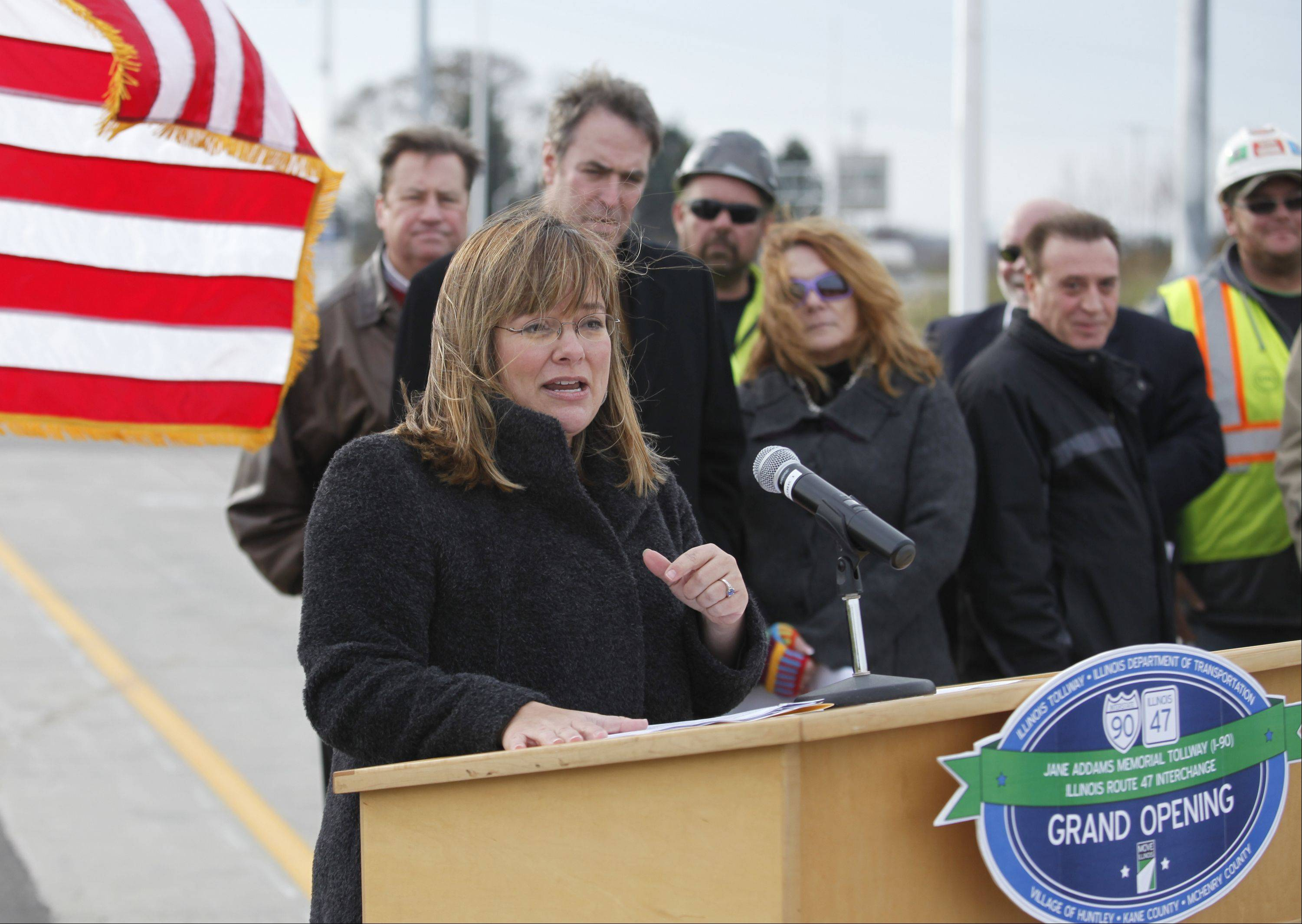 Illinois Tollway Executive Director Kristi Lafleur addresses the crowd Friday as the new tollway interchange is officially opened in Huntley.
