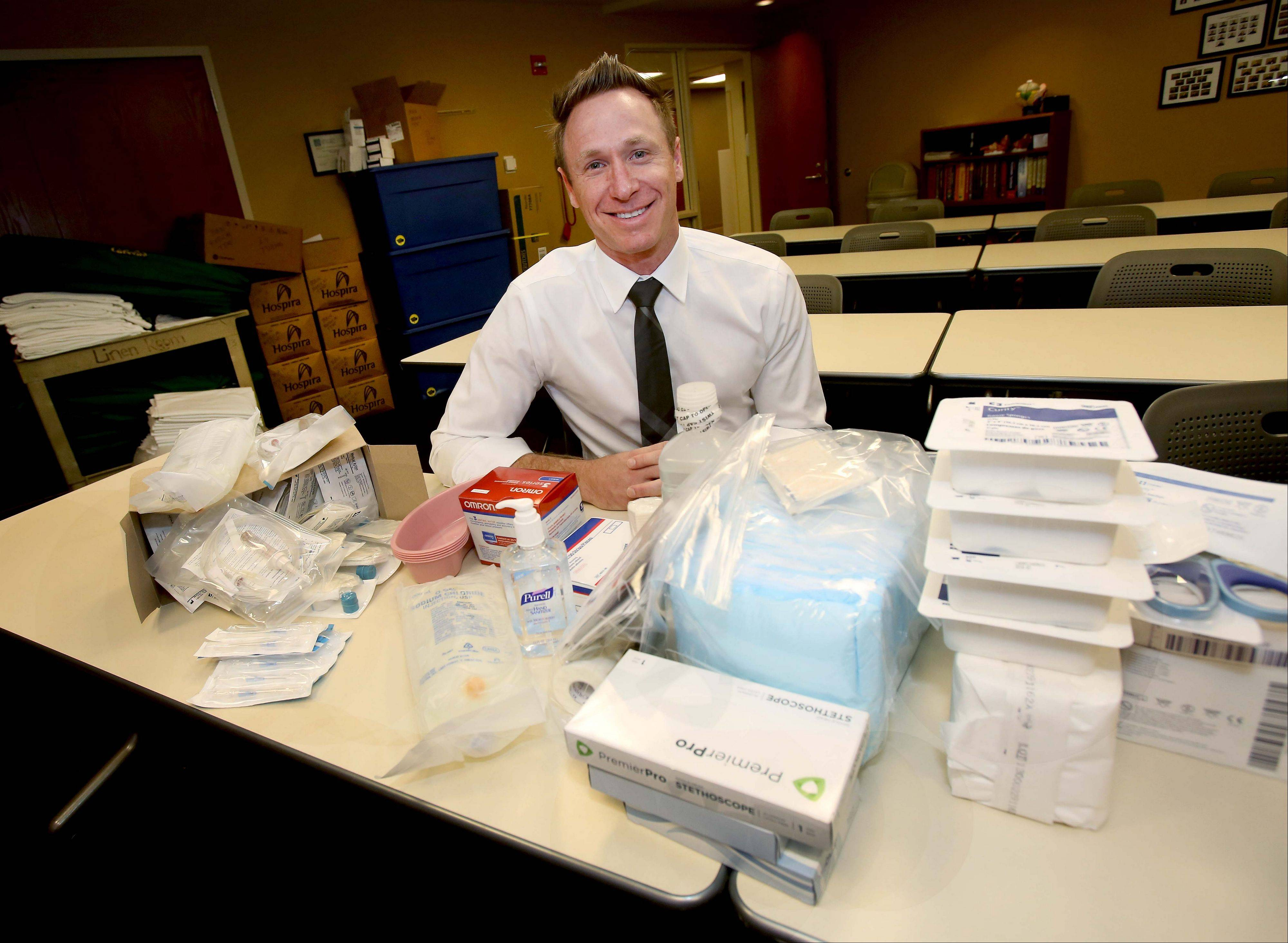 Edward Hospital emergency room physician Dr. Michael Hartmann will have these supplies and more on hand Sunday while serving as medical director for the inaugural Edward Hospital Naperville Marathon and Half Marathon.