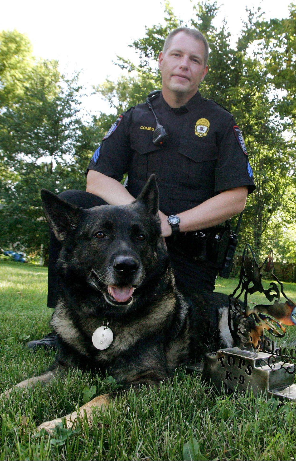 Wauconda police Sgt. John Combs and his canine partner, Maxx. Maxx is retiring in May. A new police dog, a German shepherd named Varro, will begin next week.