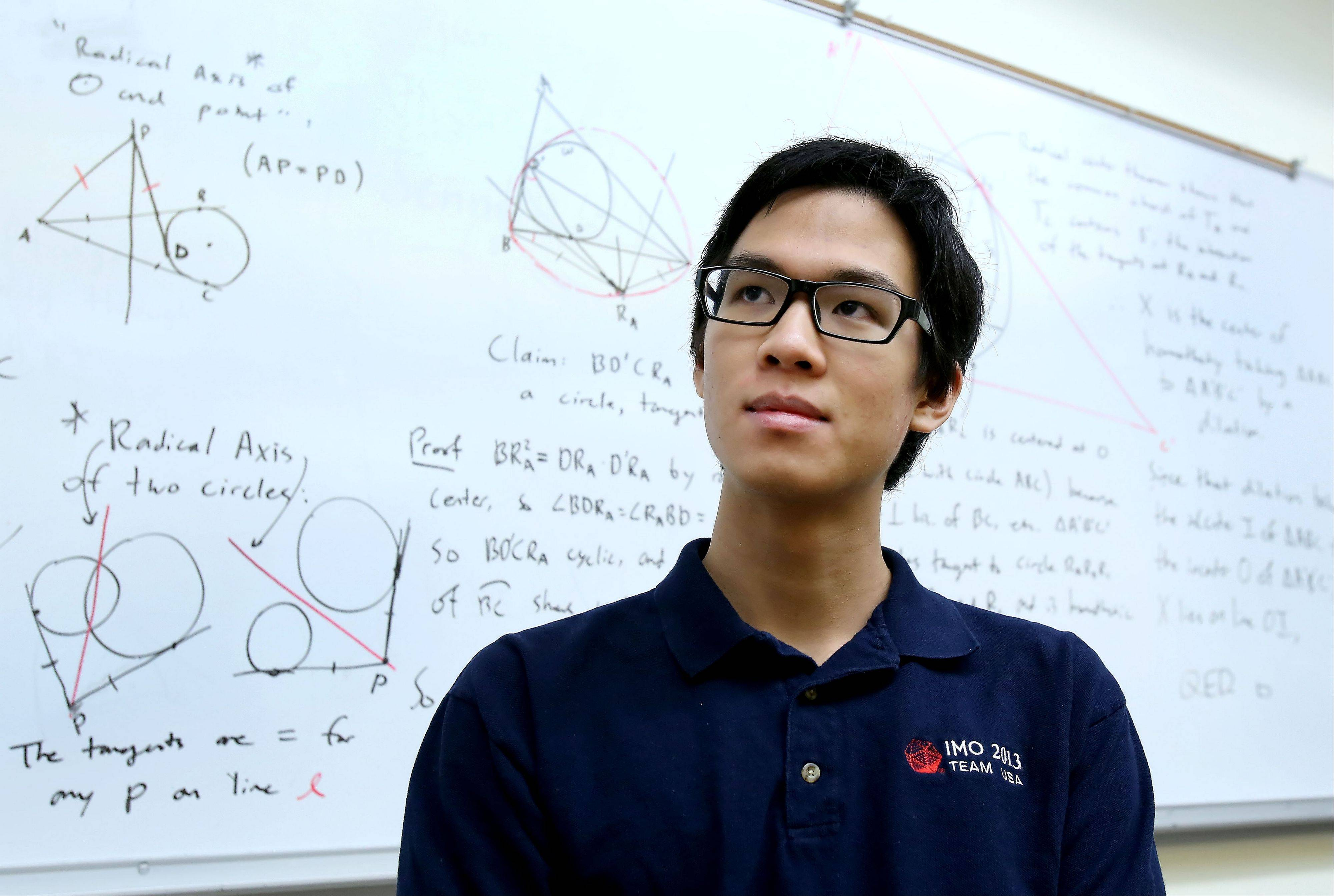 James Tao, a senior at the Illinois Mathematics and Science Academy in Aurora, hopes to attend MIT or Harvard. While some see math as logical and static, James said it's actually all about creativity.