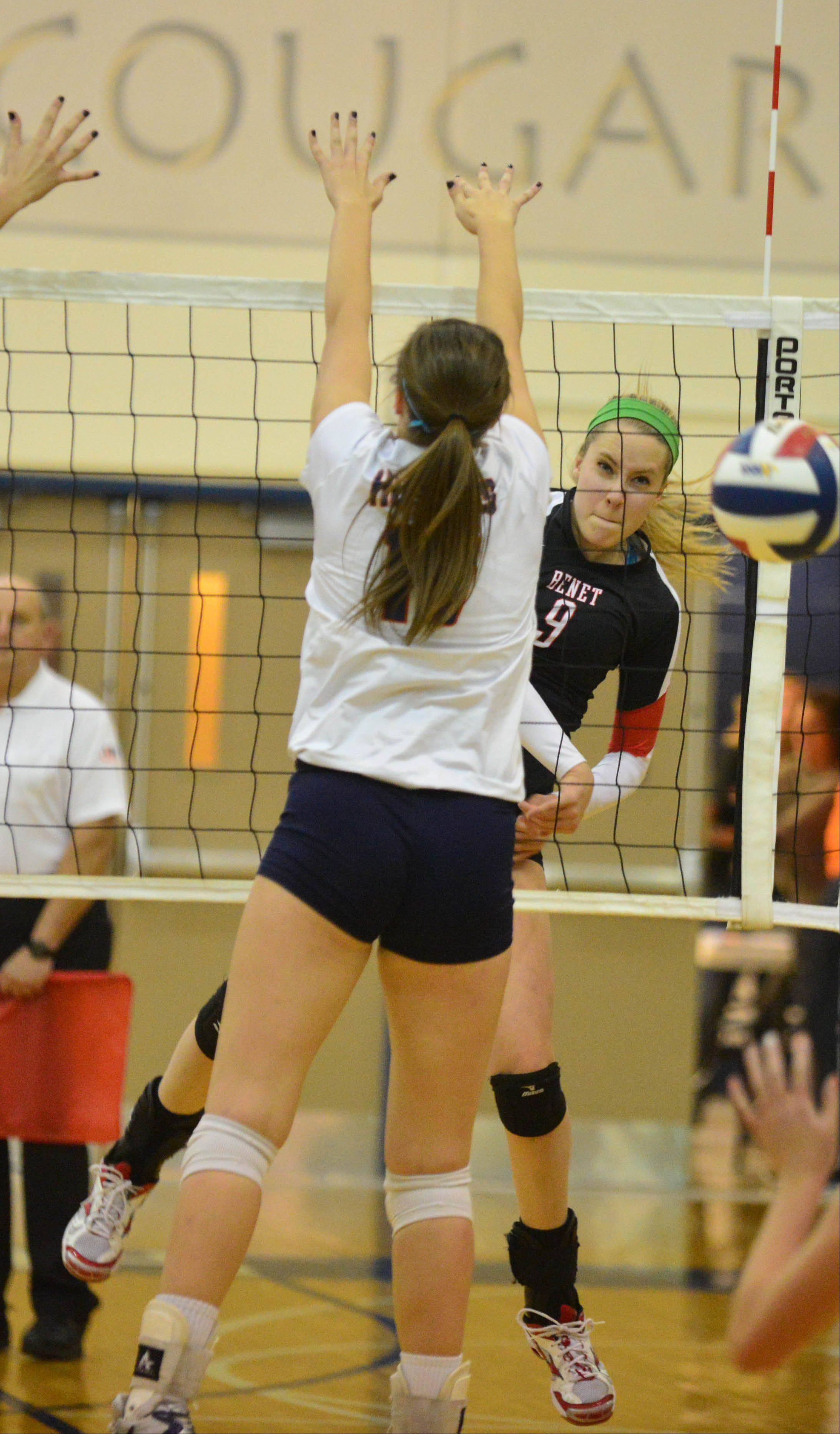 Dana Griffin of Benet watches her spike head towards the ground during theBenet vs. Naperville North Class 4A Plainfield South girls volleyball sectional final Thursday.
