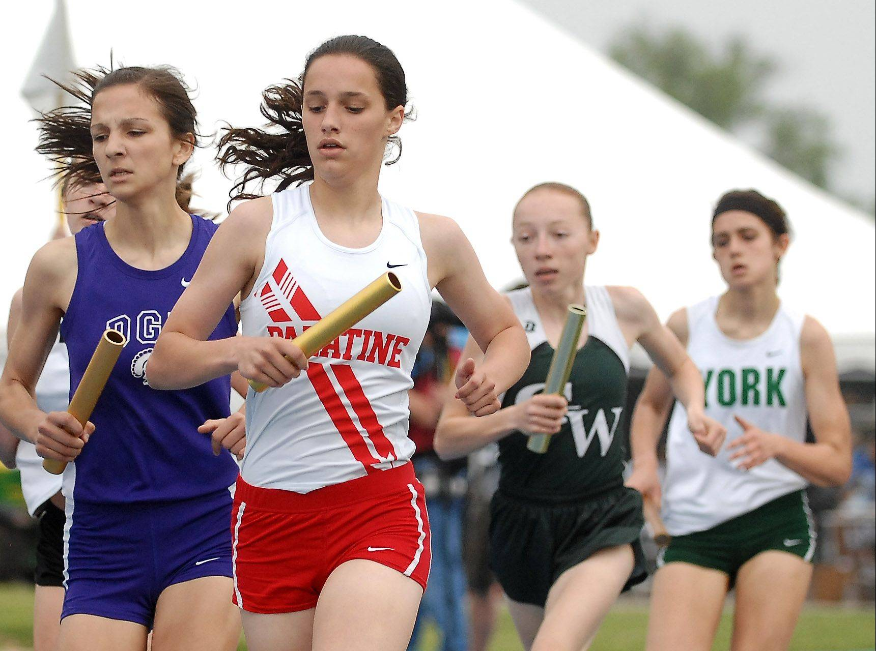 Palatine's Cassidy McPherson, here excelling in the girls track state meet, is among three key seniors central to the Pirates' state trophy hopes.