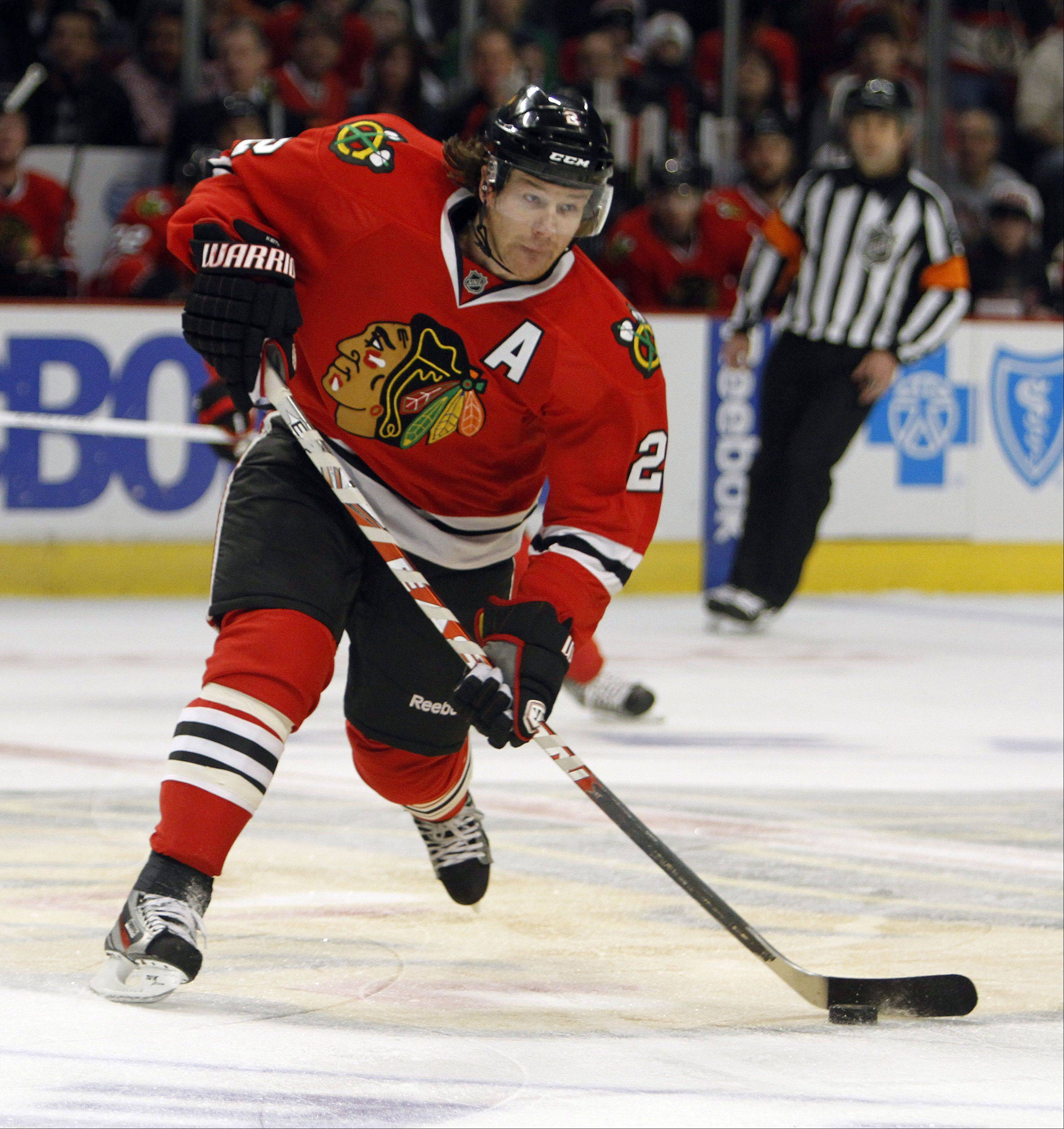 Steve Lundy/slundy@dailyherald.com Blackhawks defenseman Duncan Keith is quietly regaining the form that earned him the Norris Trophy in 2009-10, when he finished with a career-high 69 points and was plus-21, according to Tim Sassone.