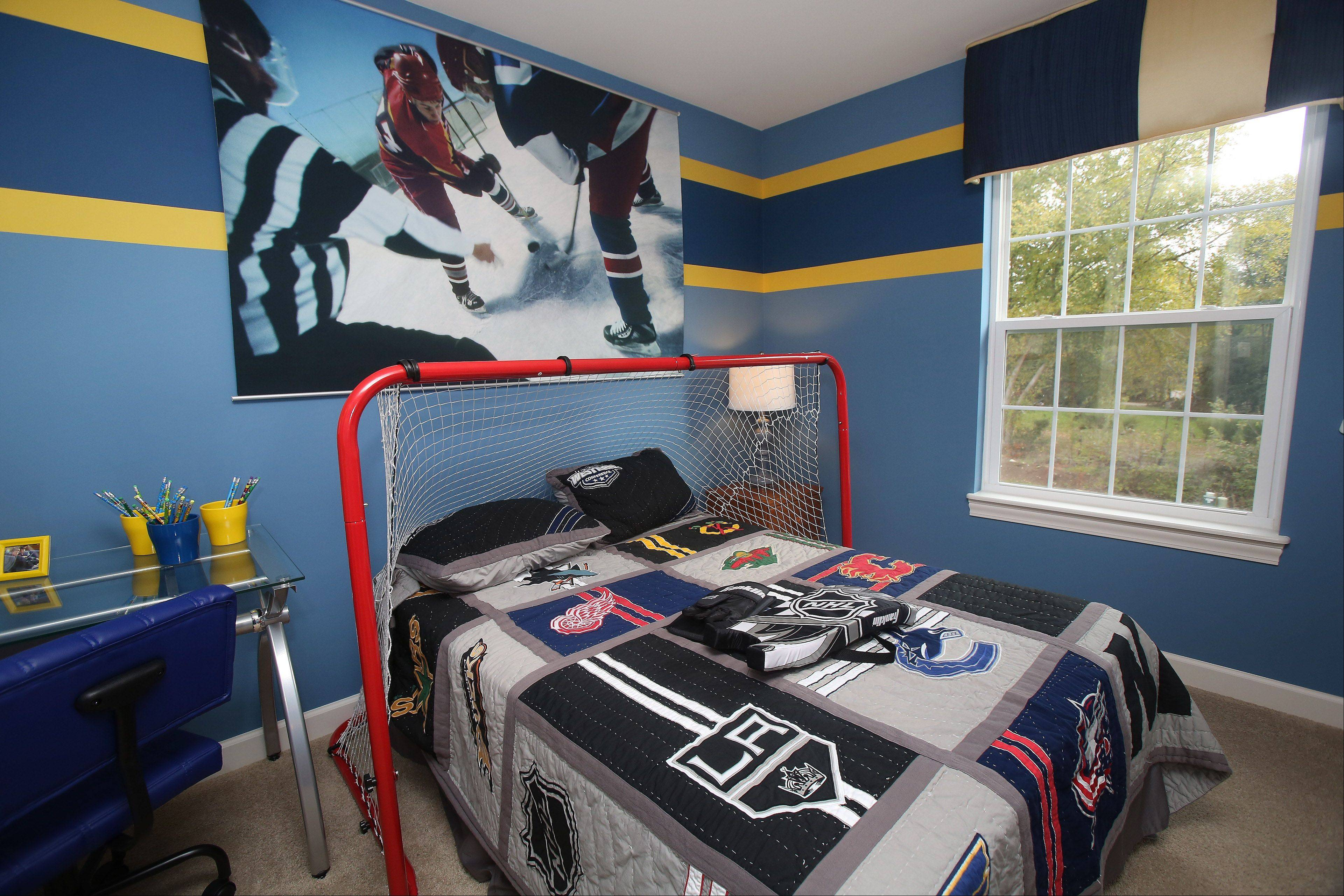 Interior designer Leslie Frazier of Frazier Design Group in Chicago decorated two of the home's bedrooms for young boys.