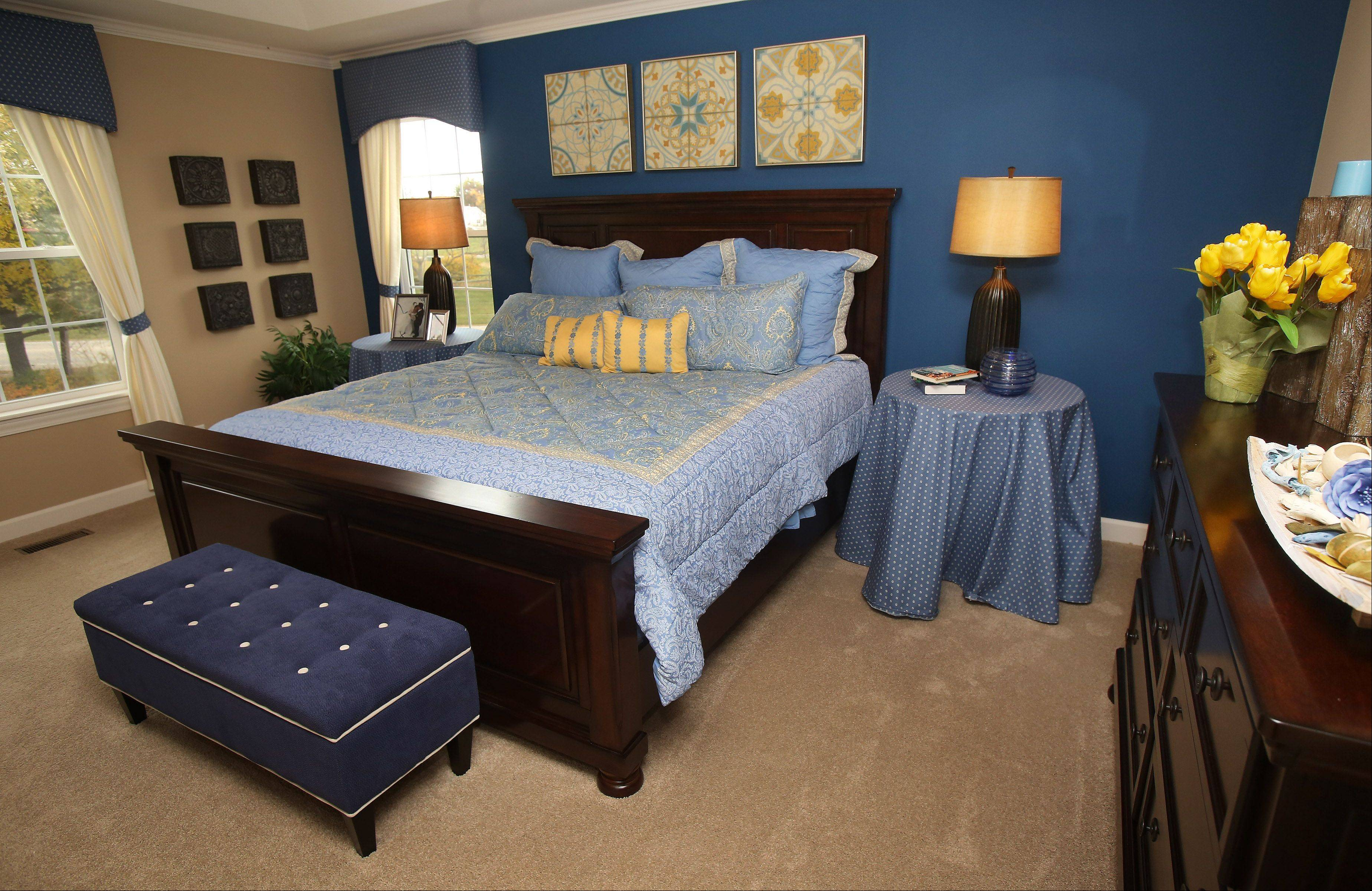 The master bedroom in the Jasper model is awash in a sea of blue.