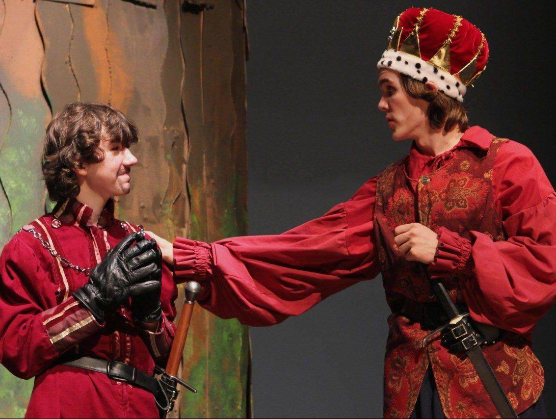 "From left, Chris Kubiak plays Count Rugen and Rian Kormos plays Humperdinck in Geneva High School's production of ""The Princess Bride."""