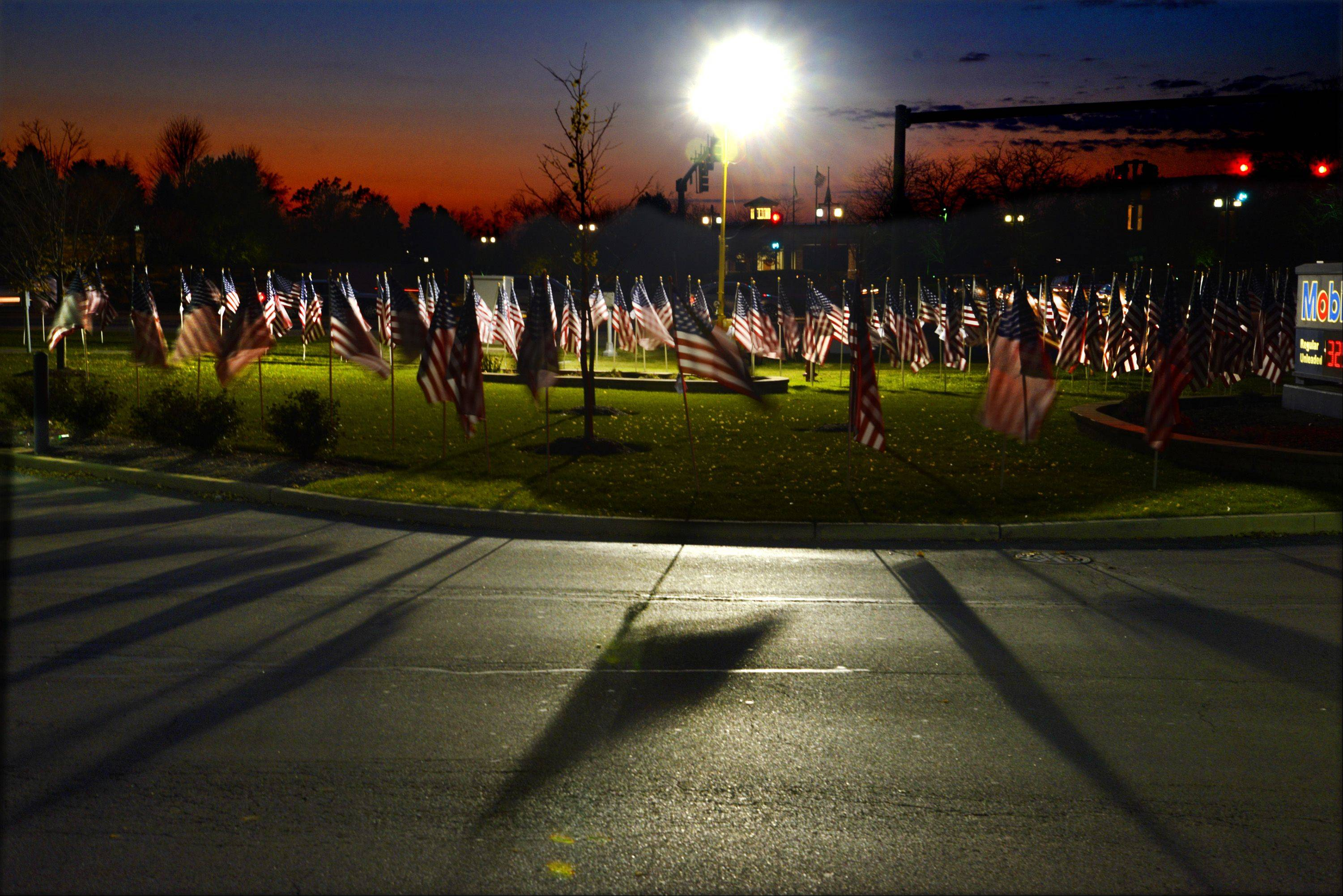 Culver's in Huntley is flying almost 400 flags on Route 47. Each flag represents a fallen soldier from the Chicago area since 9/11.