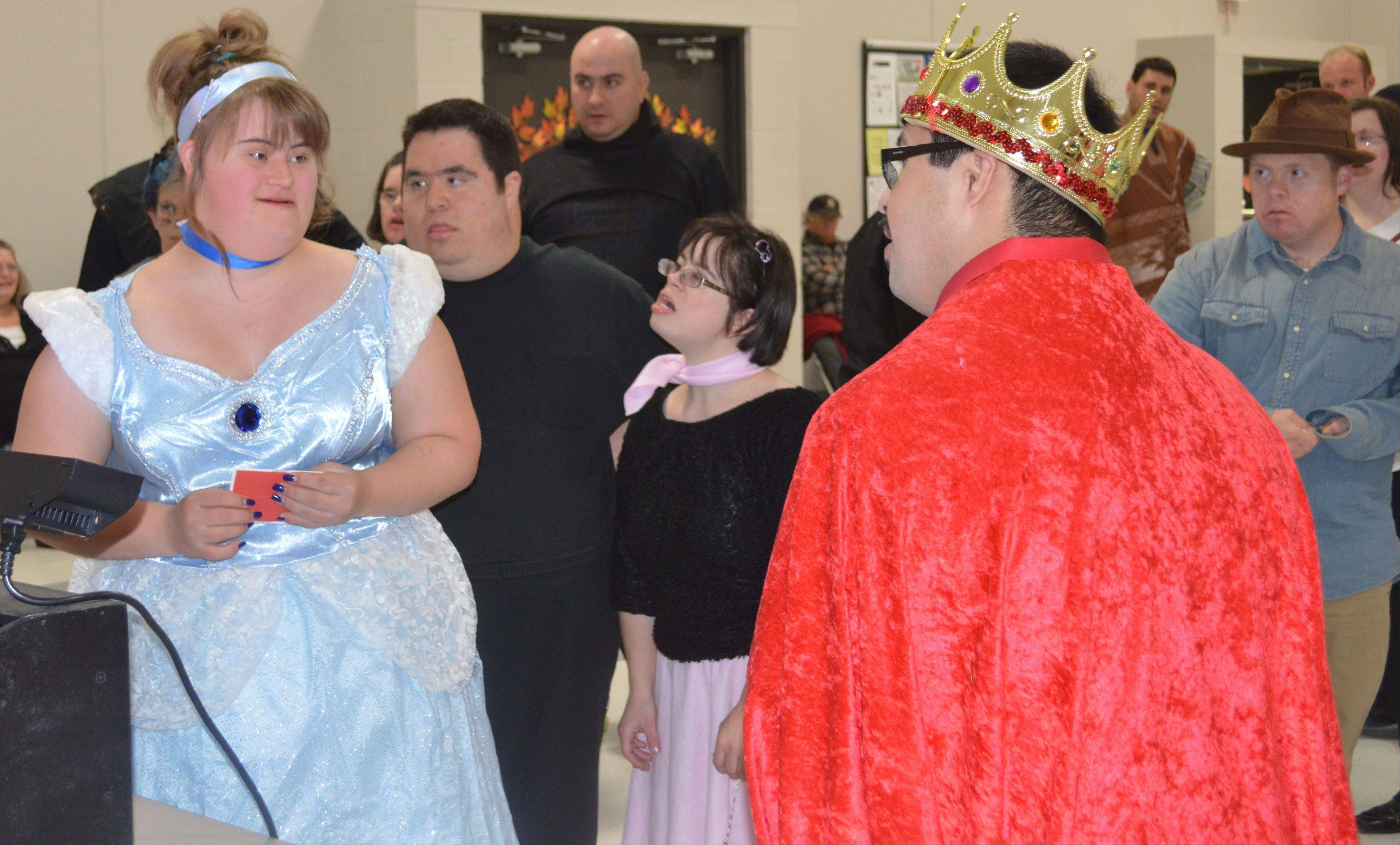 """Cinderella"" wins a Target gift card for best costume at the Halloween Dance hosted by Schaumburg Township Disability Services."