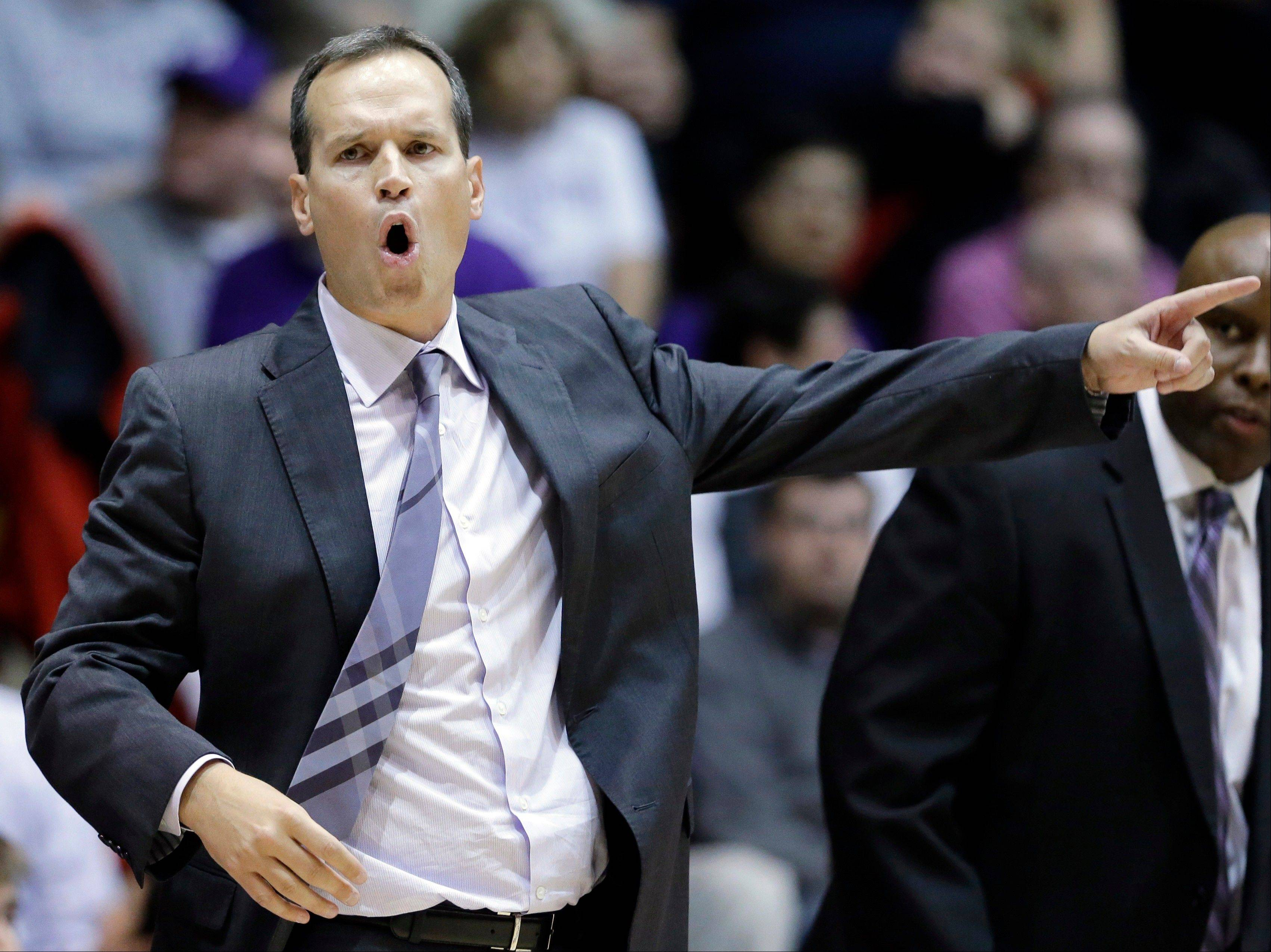 Northwestern head coach Chris Collins consistently barked out instructions to his team during the game against Eastern Illinois University Saturday in Evanston. Northwestern won 72-55.