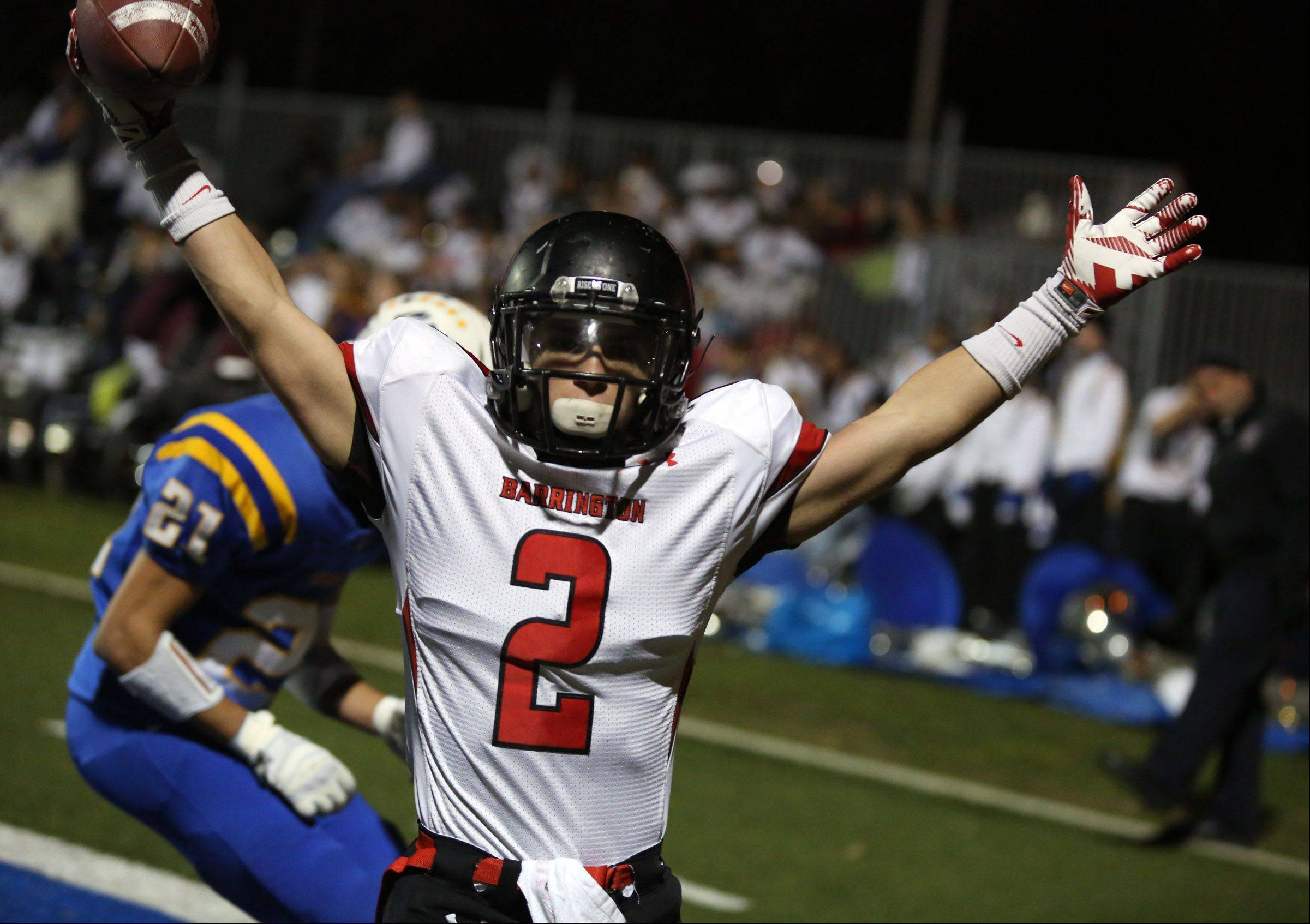 Barrington�s Matt Moran celebrates a game-winning touchdown against Warren Saturday in Gurnee.