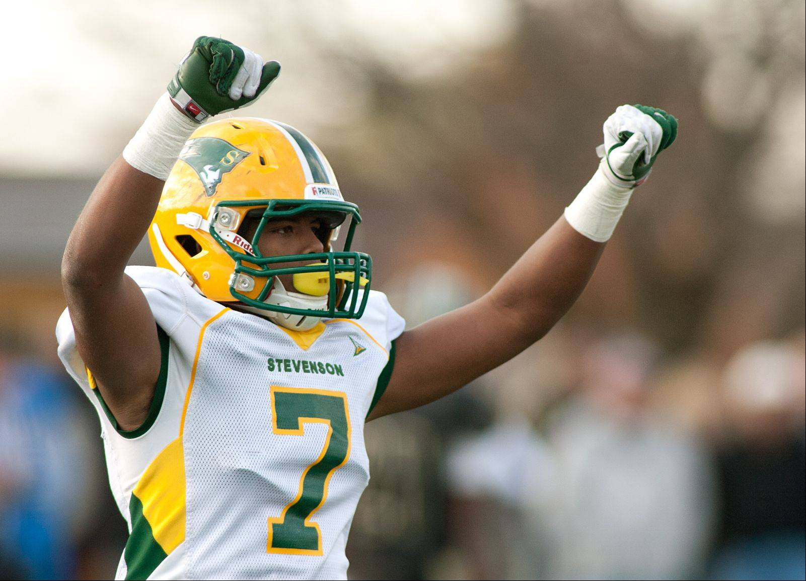 Stevenson�s Cameron Green celebrates a 20-16 win.