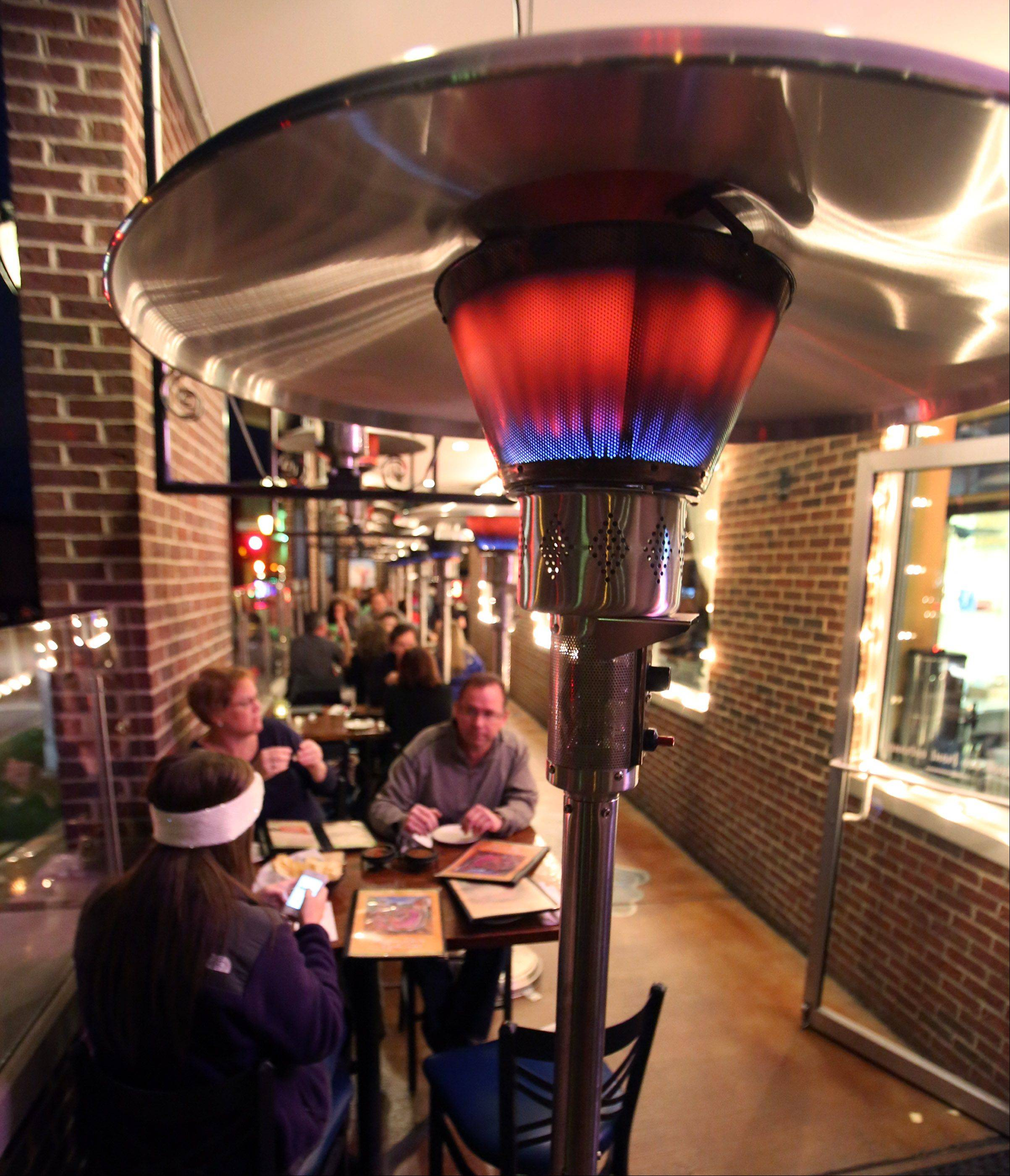 Heat lamps keep customers cozy on the outdoor patio at Libertyville's Casa Bonita Mexican Restaurant and Tequila Bar.