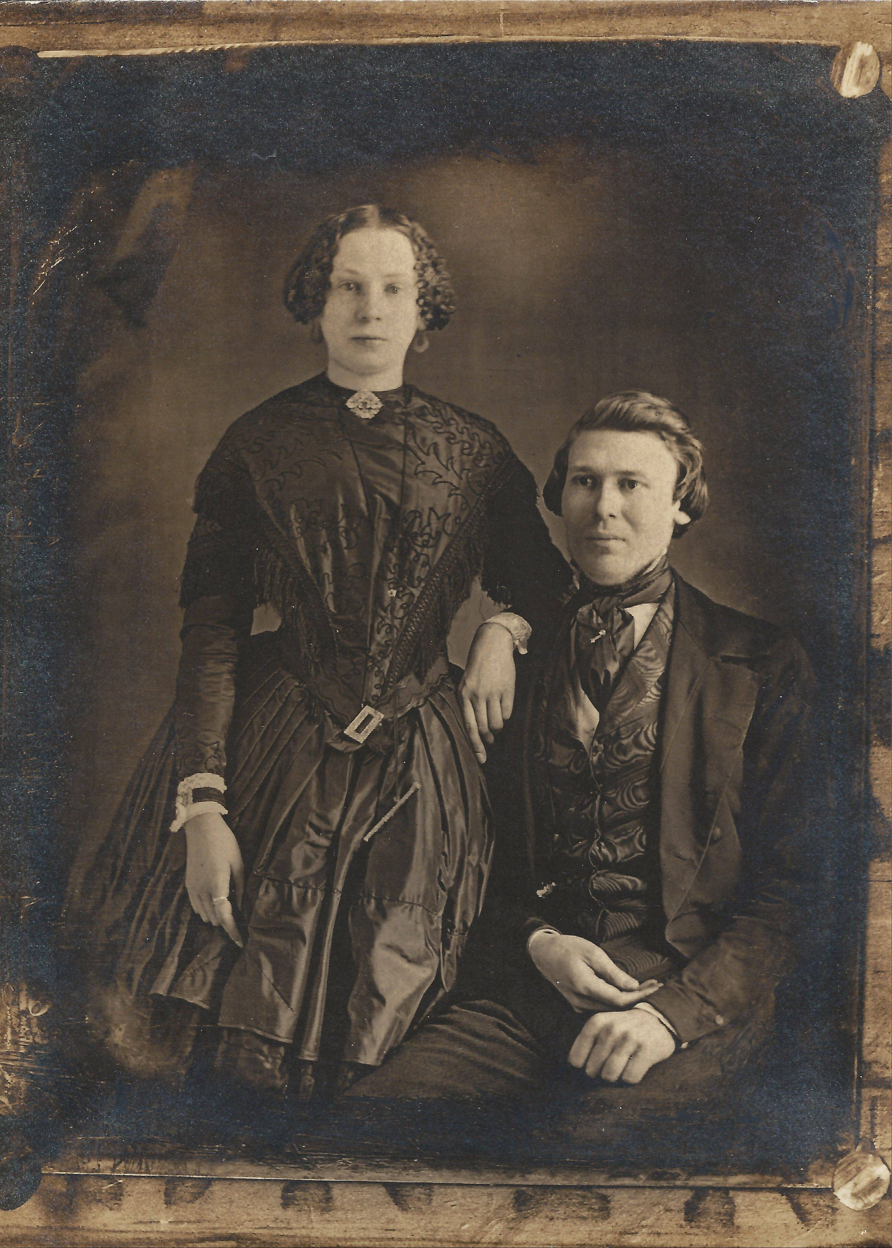 This circa-1856 photo provided by Matt Alberts shows Lowell Gilmore at age 25 with his wife, Mary Eliza Gilmore, age 19, at a sitting in Albany, N.Y. During the past year, Denver photographer Alberts learned the wet plate collodion process -- the same photographic process practiced by his ancestor, Lowell Gilmore, nearly 150 years ago.