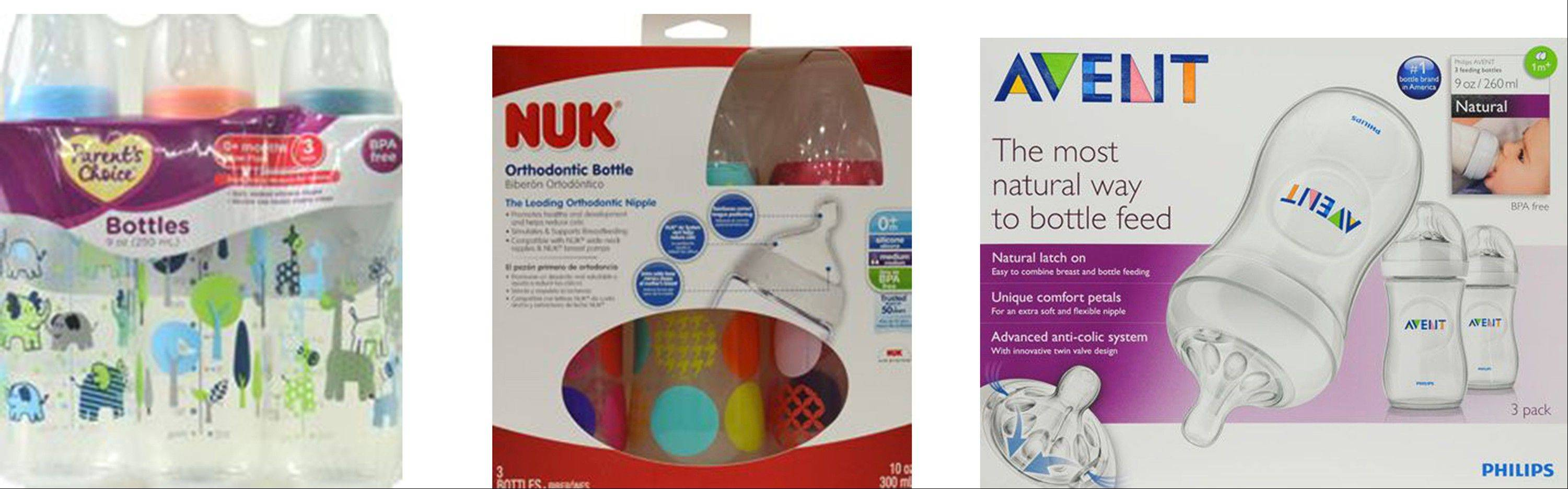Baby bottle starter kits, ranging in price from $2.87 to $15.69, from left to right: Parent�s Choice Slow Flow; NUK Orthodontic Bottles and Avent Natural.