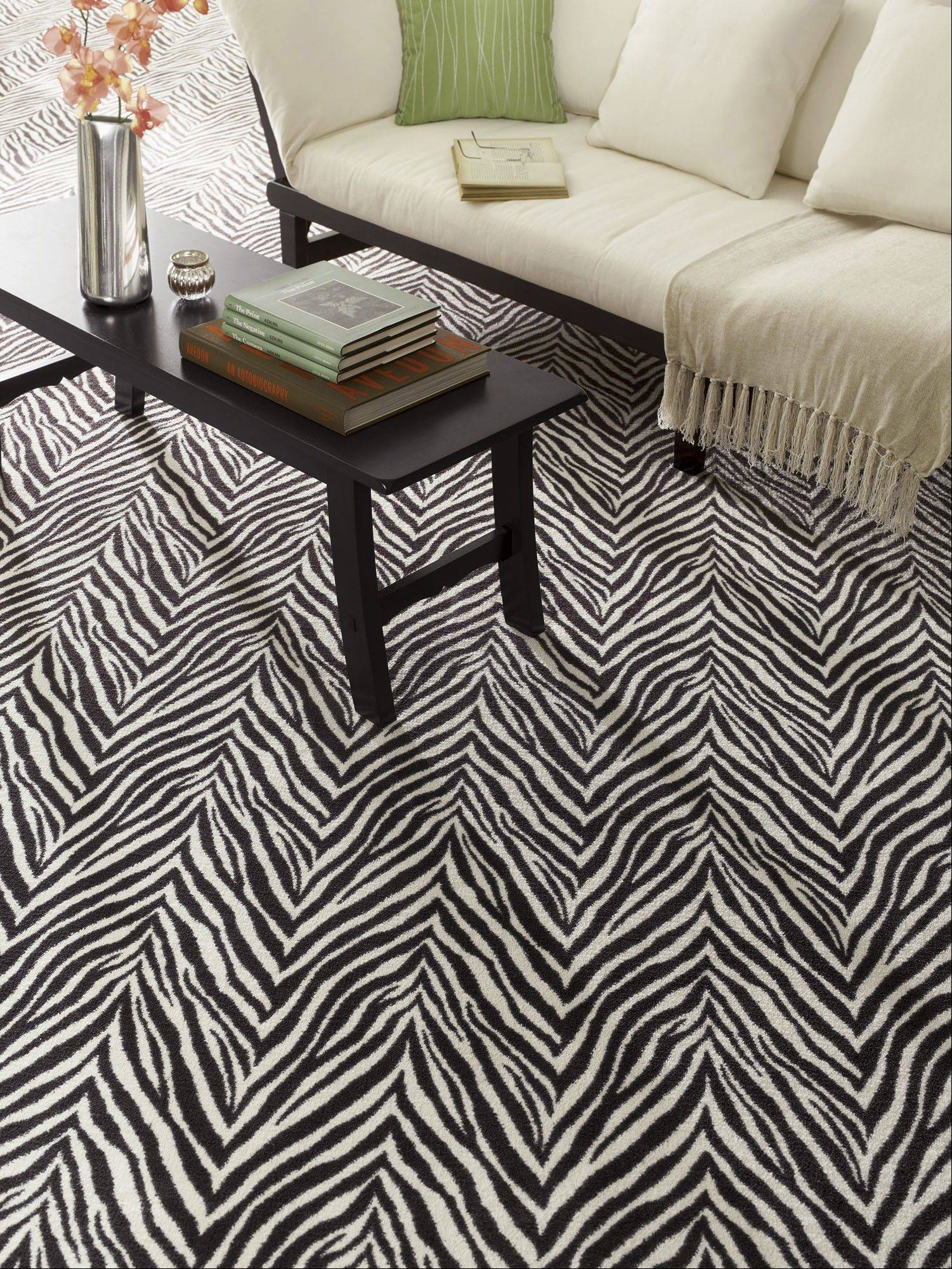 Milliken's Exotic Journey carpet allows you to have the animal trend wall-to-wall on your floor or as a rug that can be cut to your exact specifications by a local carpet store.
