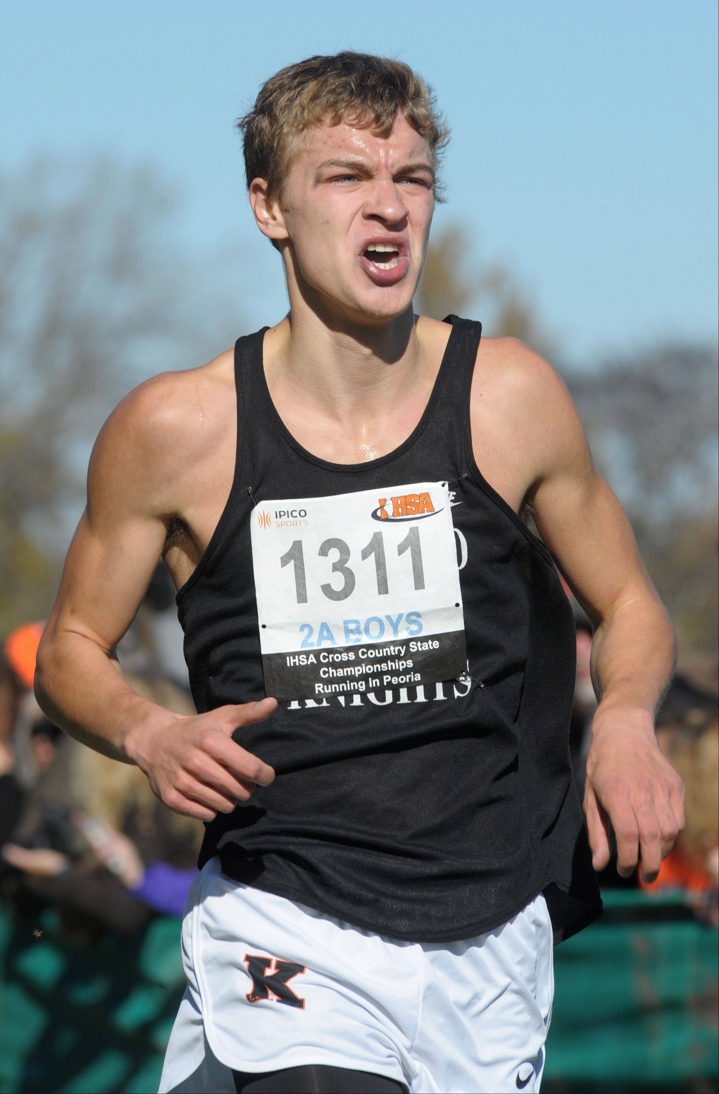 Laura Stoecker/lstoecker@dailyherald.comKaneland's Nathaniel Kucera takes 67th place in the Class 2A IHSA cross country state final at Detweiller Park in Peoria on Saturday, November 9.