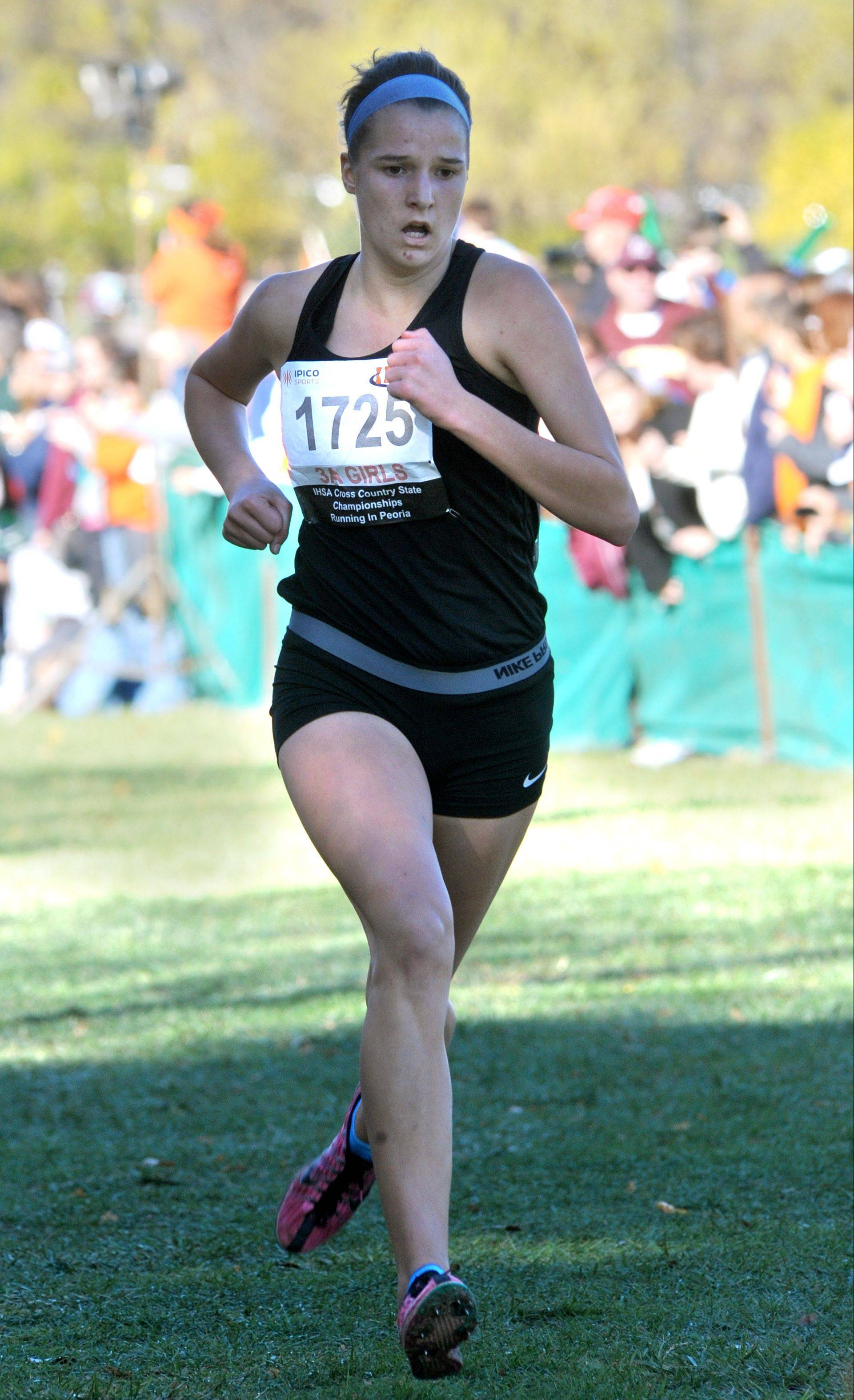 St. Charles North's Ashley England finished 11th place in the Class 3A cross country state finals at Detweiller Park in Peoria on Saturday.
