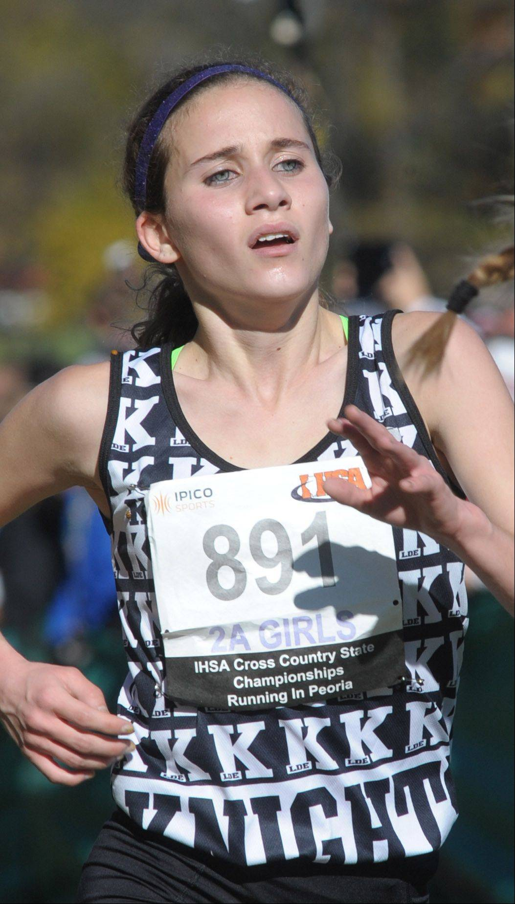 Kaneland's Brianna Bower takes 37th place in the Class 2A IHSA cross country state final at Detweiller Park in Peoria on Saturday, November 9.