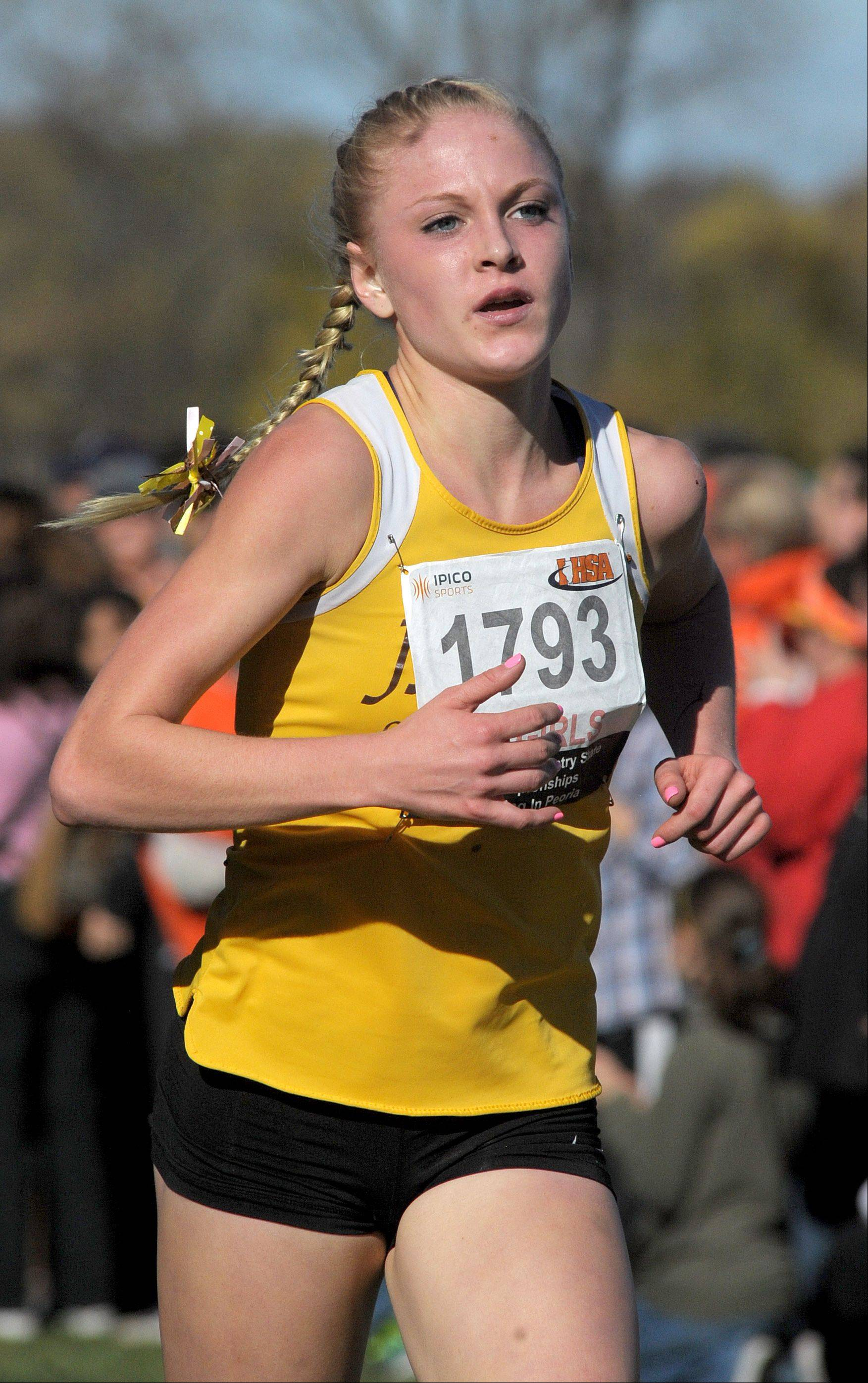 Jacobs' Lauren Van Vlierbergen takes 4th place in the Class 3A IHSA cross country state finals at Detweiller Park in Peoria on Saturday, November 9.