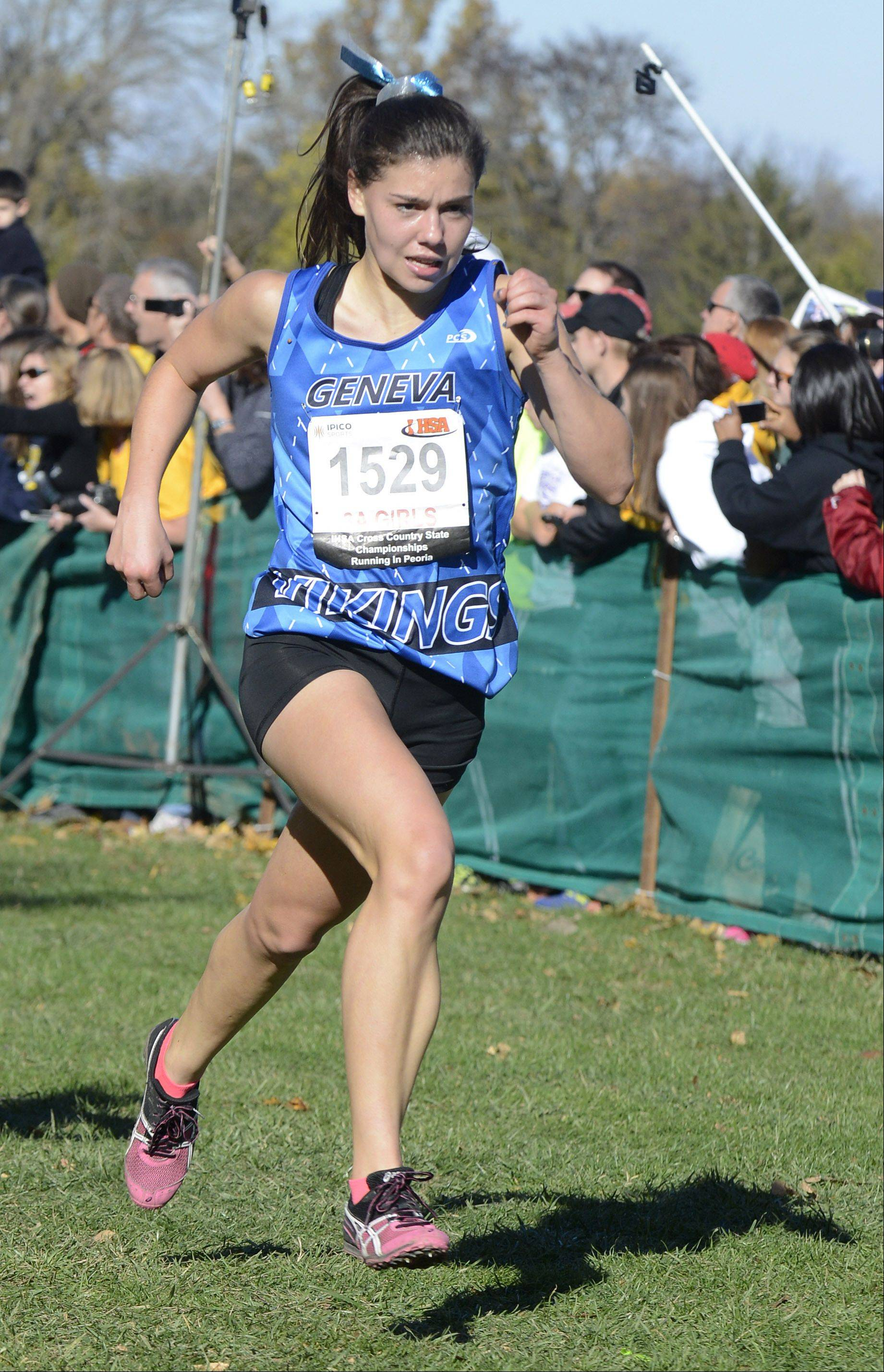 Geneva's Kathryn Adelman comes in 38th place at the Class 3A IHSA cross country state finals at Detweiller Park in Peoria on Saturday, November 9.